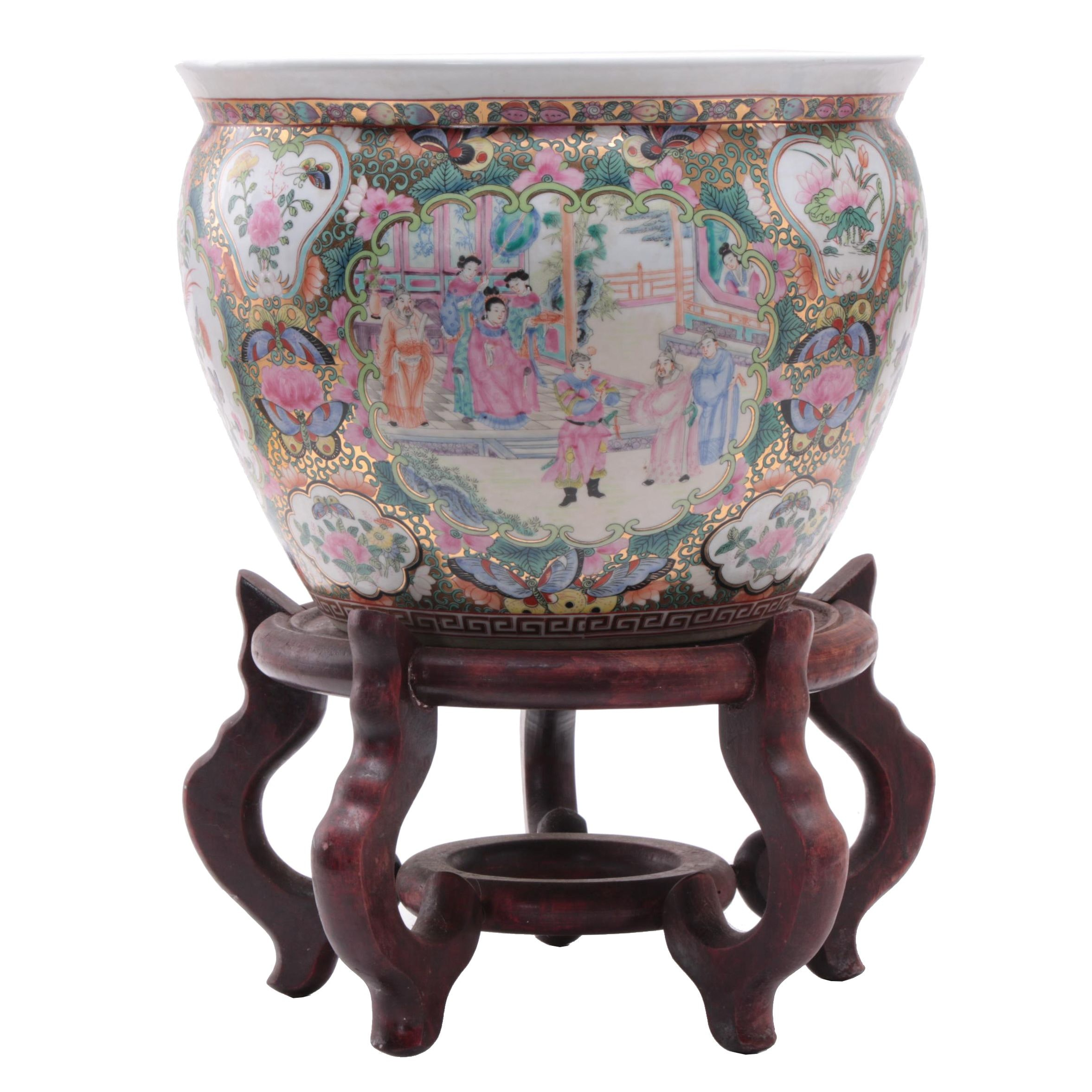 Chinese Rose Medallion Ceramic Jardiniere with Carved Wooden Stand