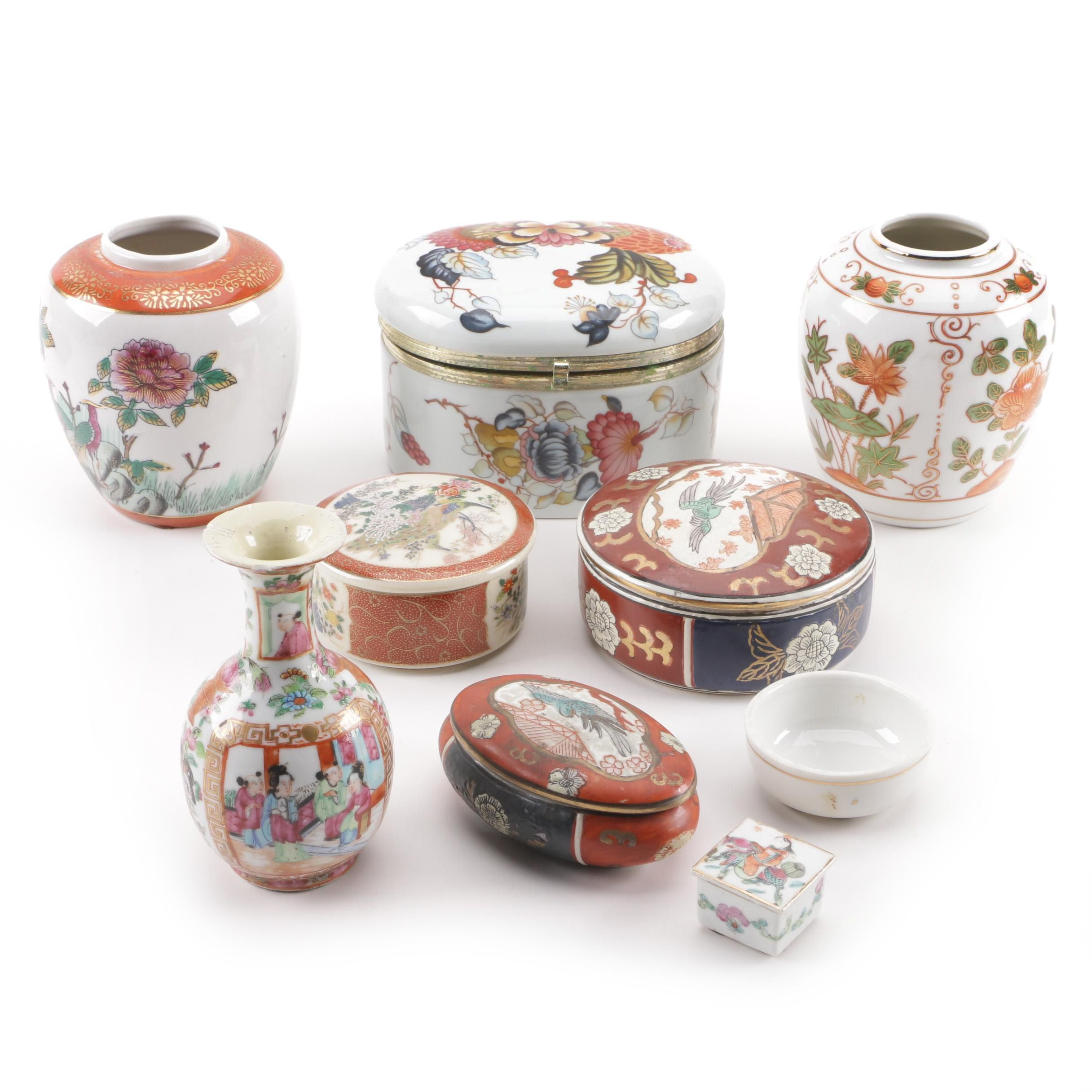 East Asian Vases and Boxes Including Andrea by Sadek