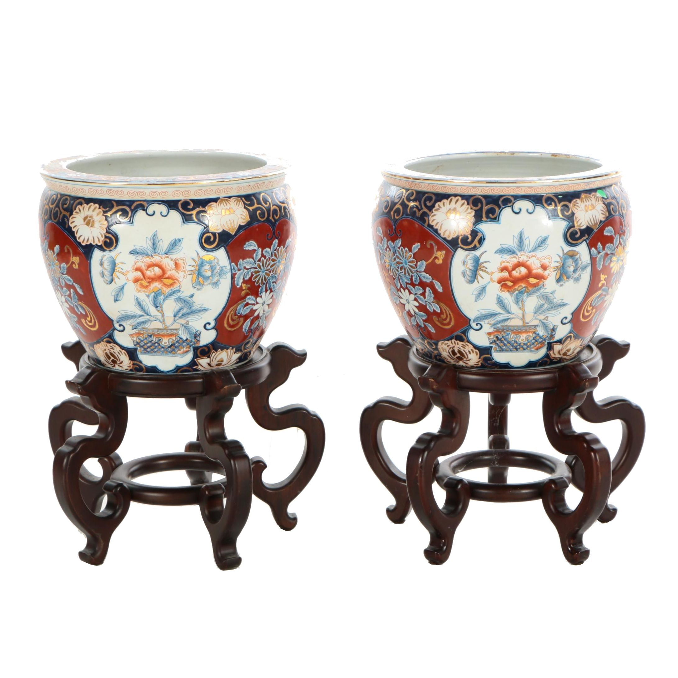 Chinese Hand-Painted Ceramic Fishbowl Jardinieres with Mahogany Stands