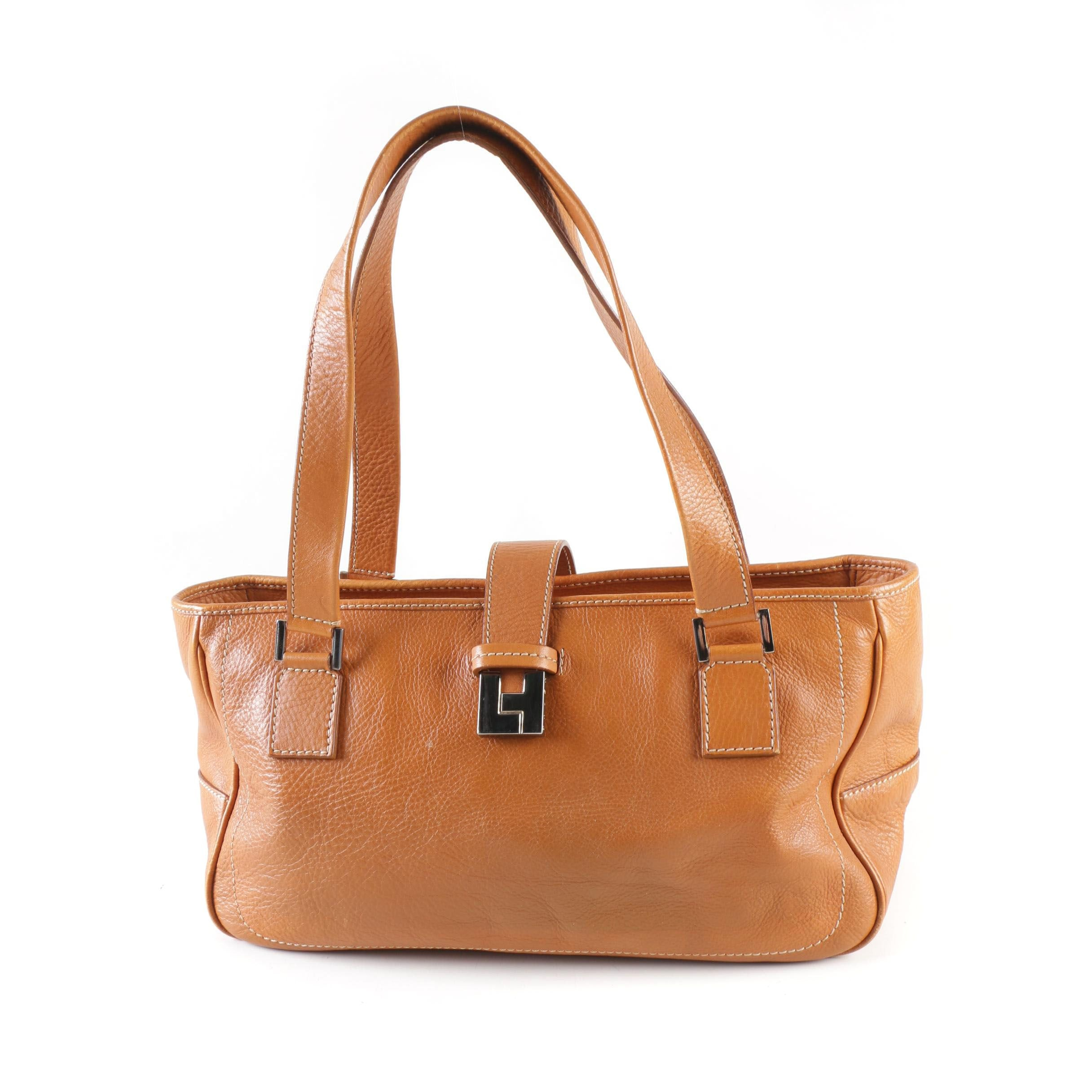 Lambertson Truex Leather Tote Shoulder Bag with Contrast Stitching