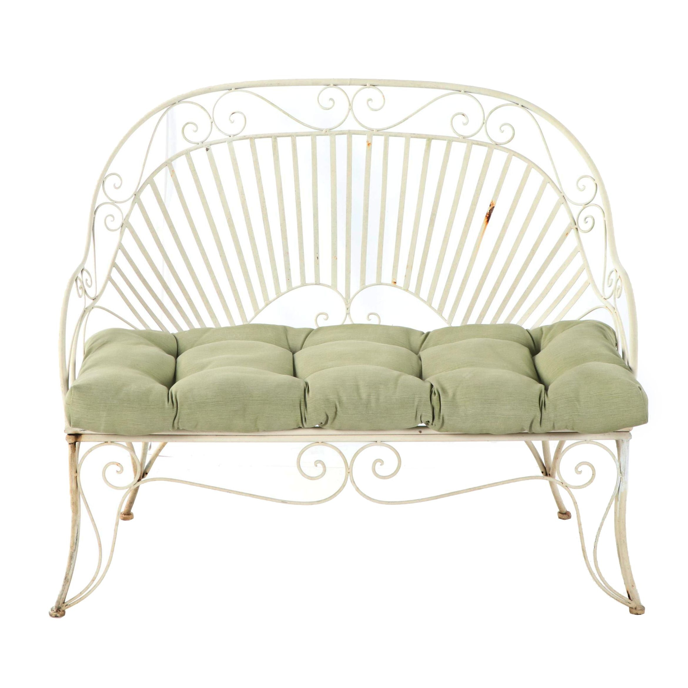 Painted Metal Patio Shell Back Loveseat, 20th Century