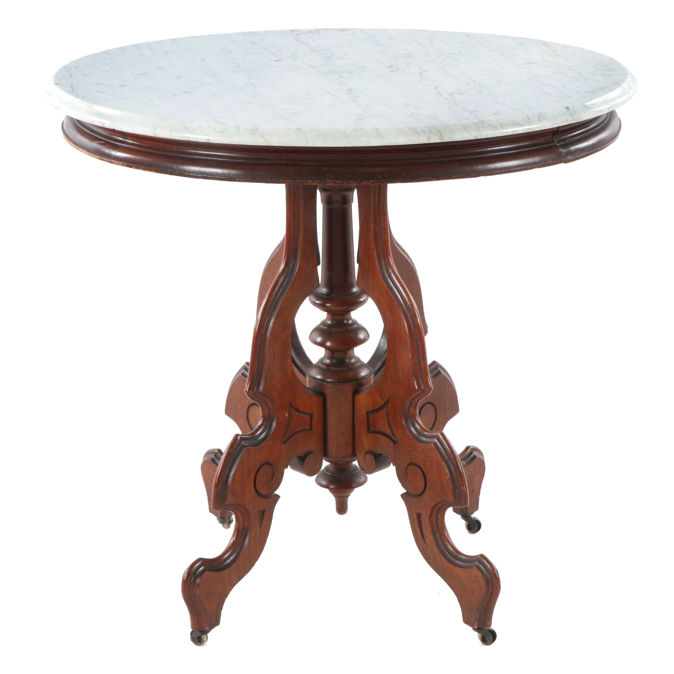 Victorian Style Mahogany and Marble Side Table, Early 20th Century