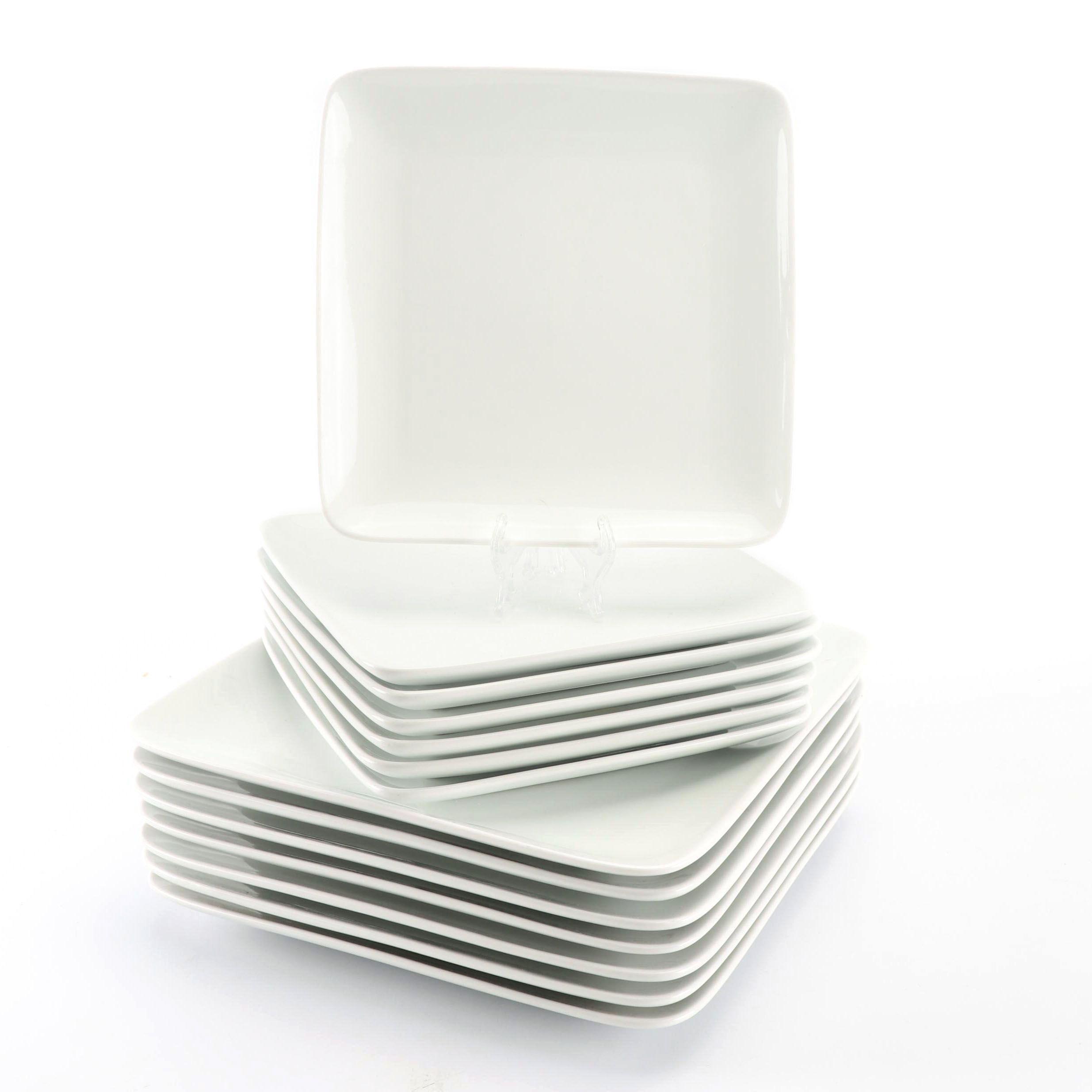Crate & Barrel Seven-Piece Porcelain Dinner and Salad Plate Sets