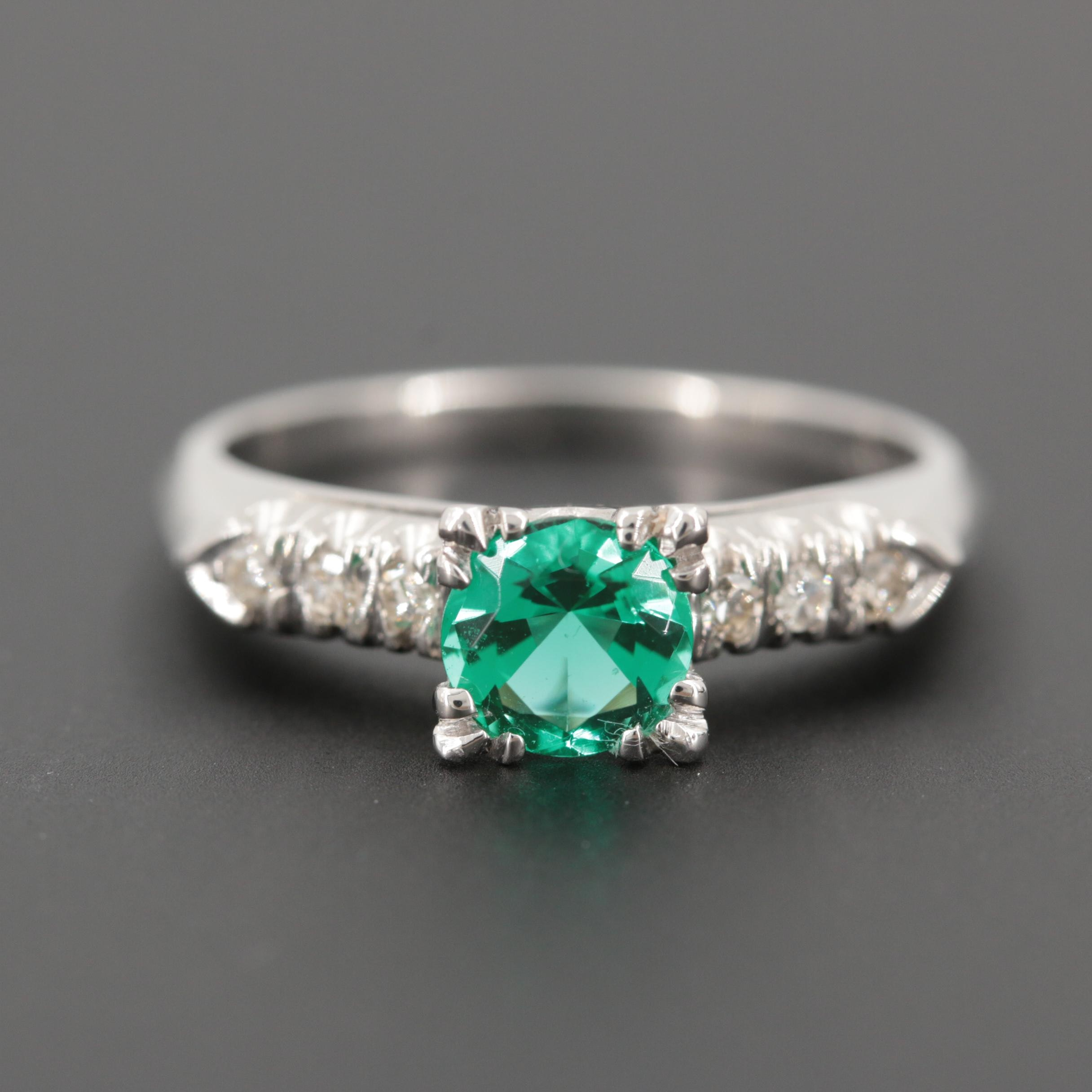 Platinum Synthetic Emerald Ring