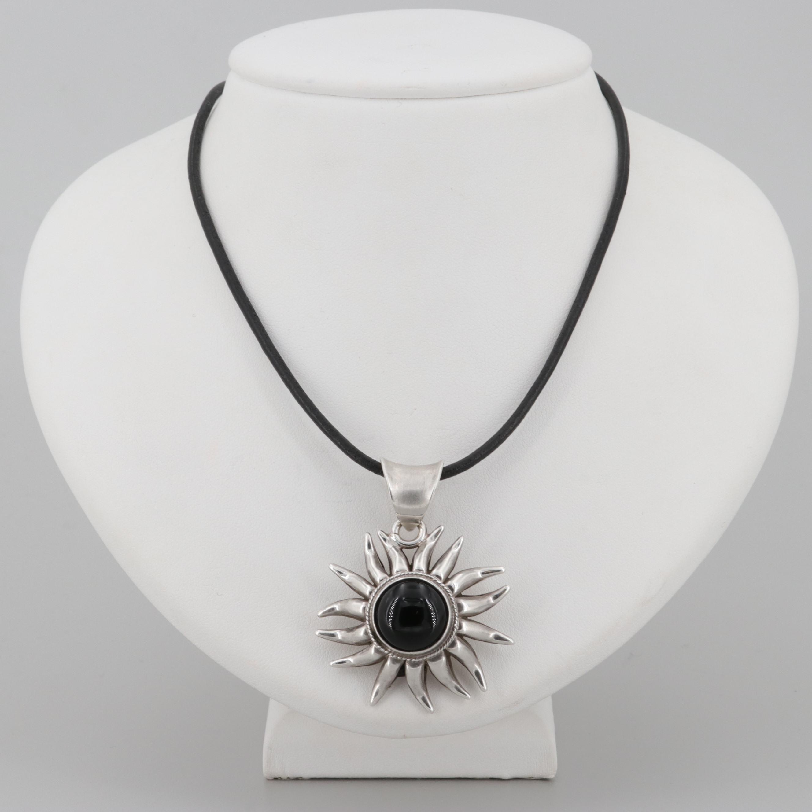 Lety G Southwestern Style Sterling Silver Black Onyx Necklace