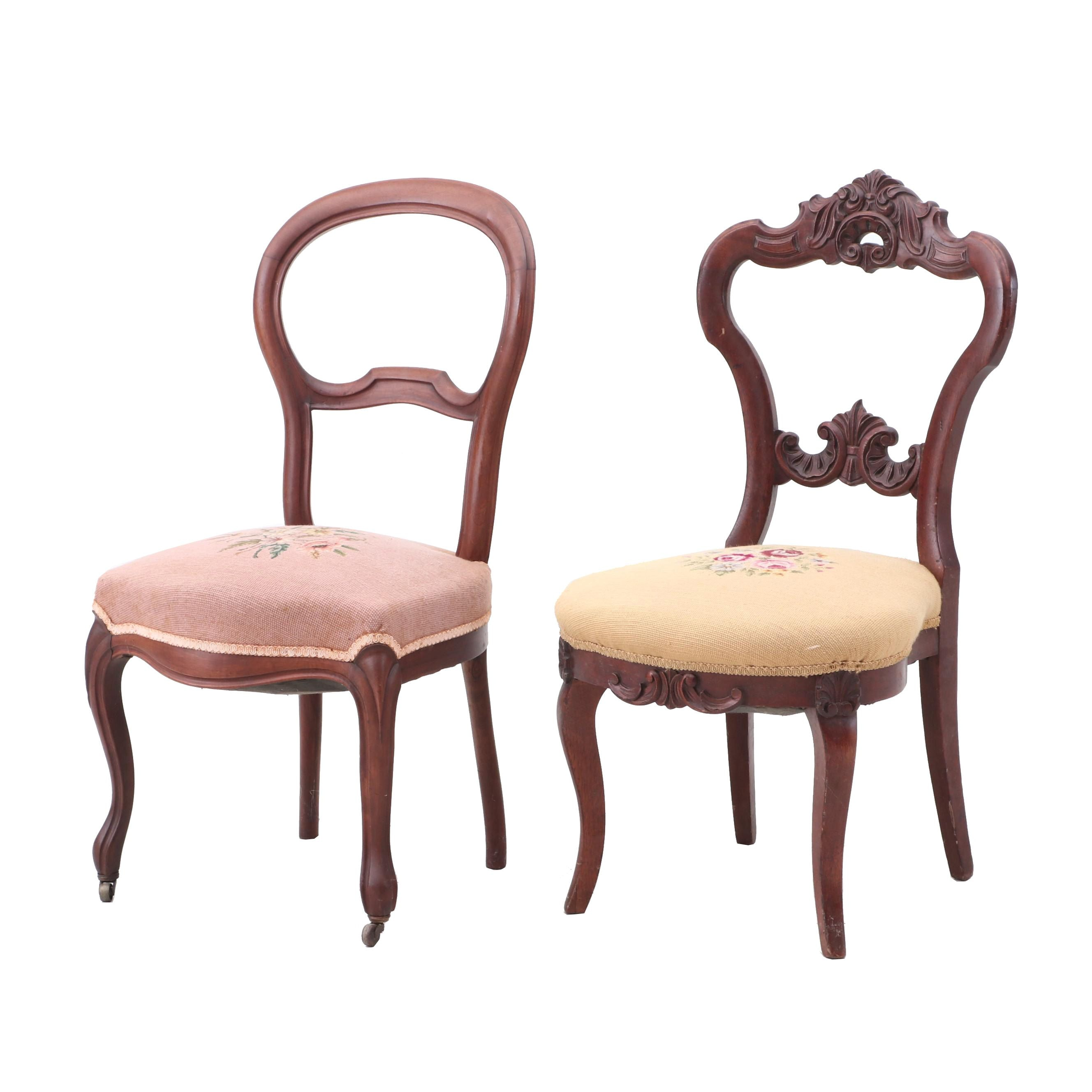 Victorian Needlepoint Side Chairs
