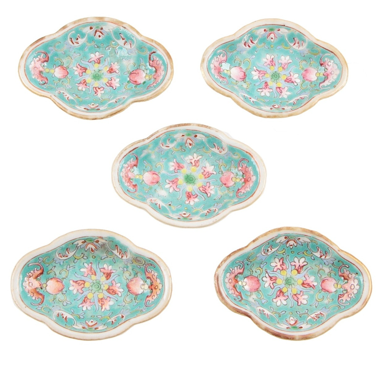 Five Chinese Lozenge Form Porcelain Condiment Dishes, Qing Dynasty