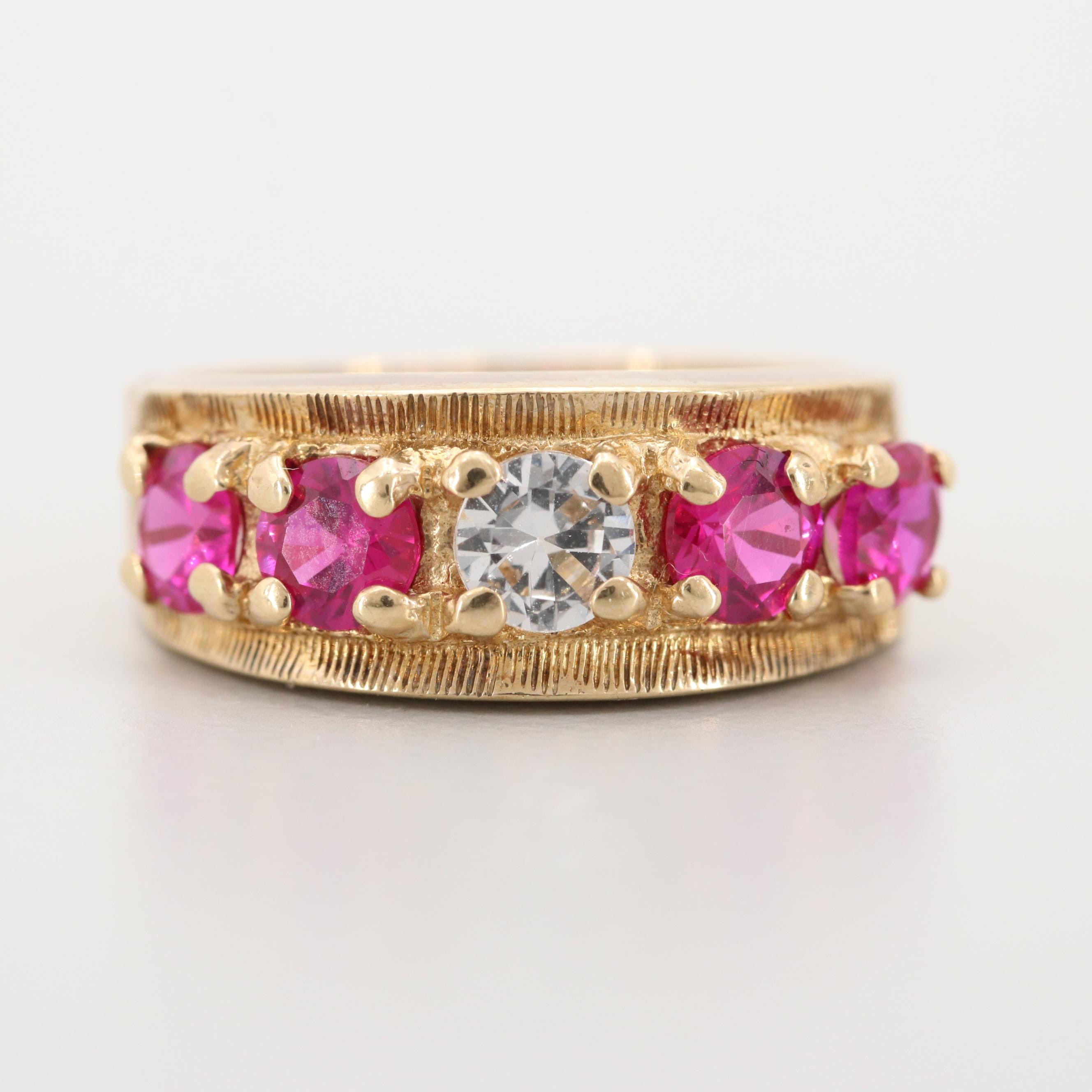10K Yellow Gold Synthetic Ruby and Synthetic White Spinel Ring