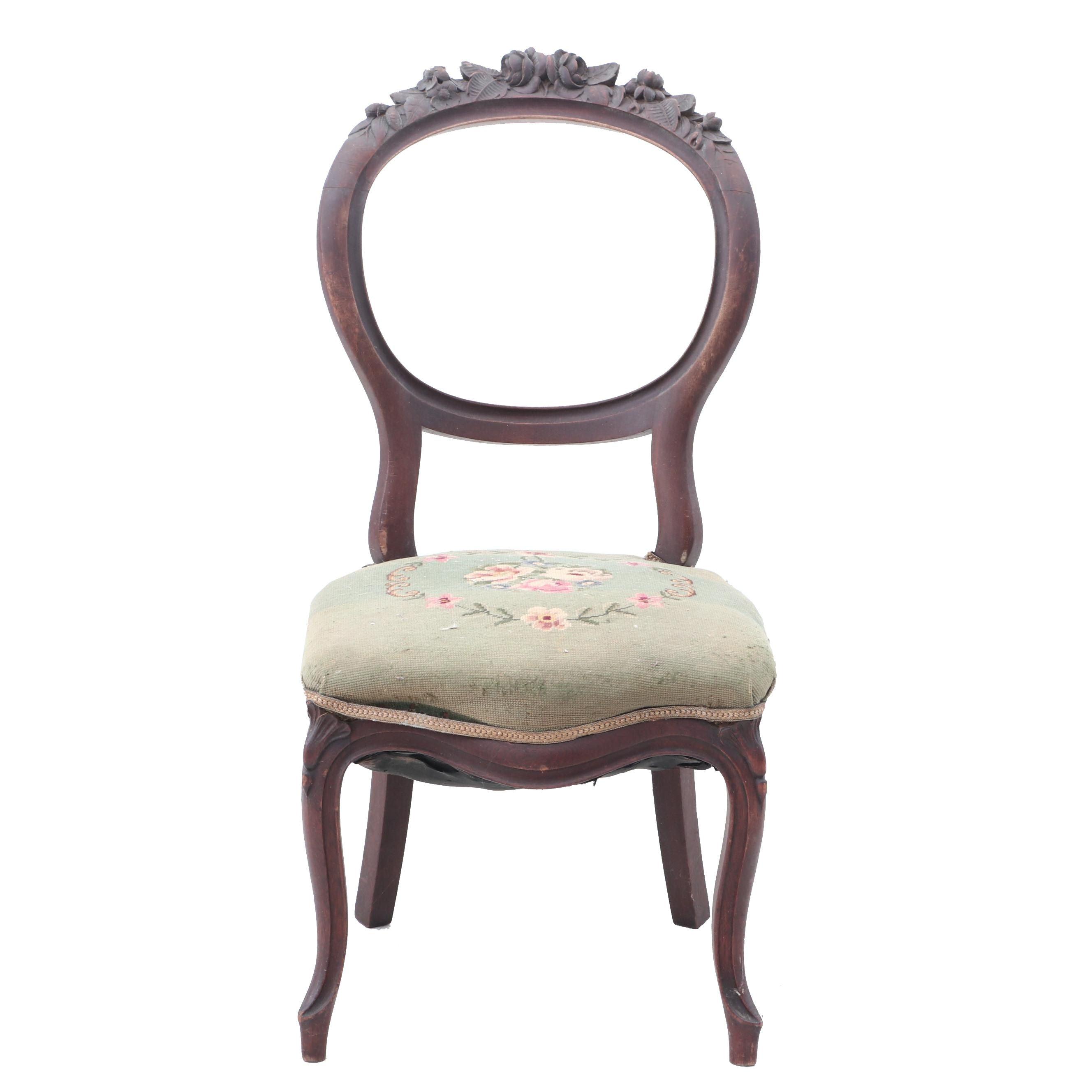 Victorian Carved Walnut Sidechair, circa 1860