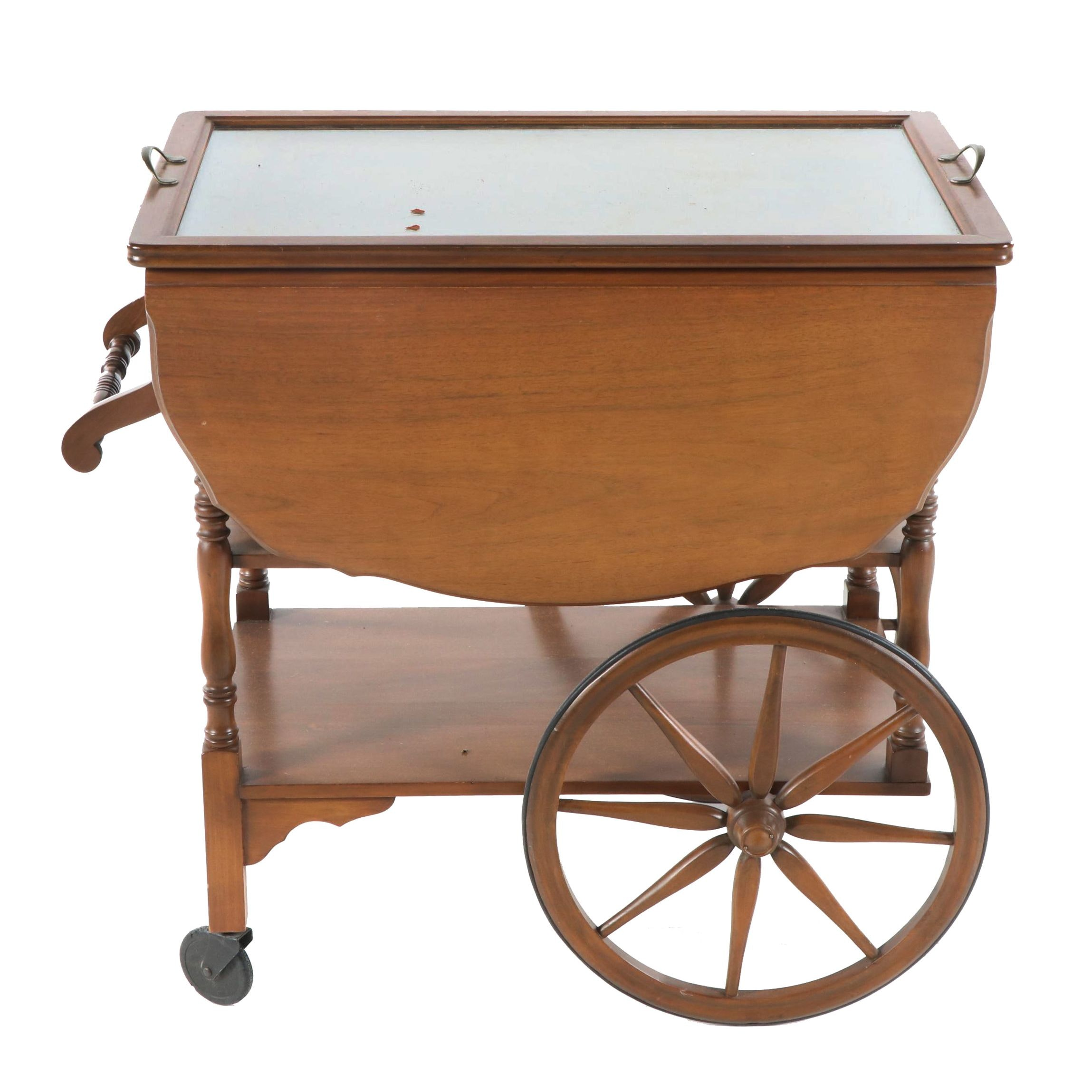 Walnut Drop Leaf Bar Cart with Glass Tray Top, Mid-20th Century