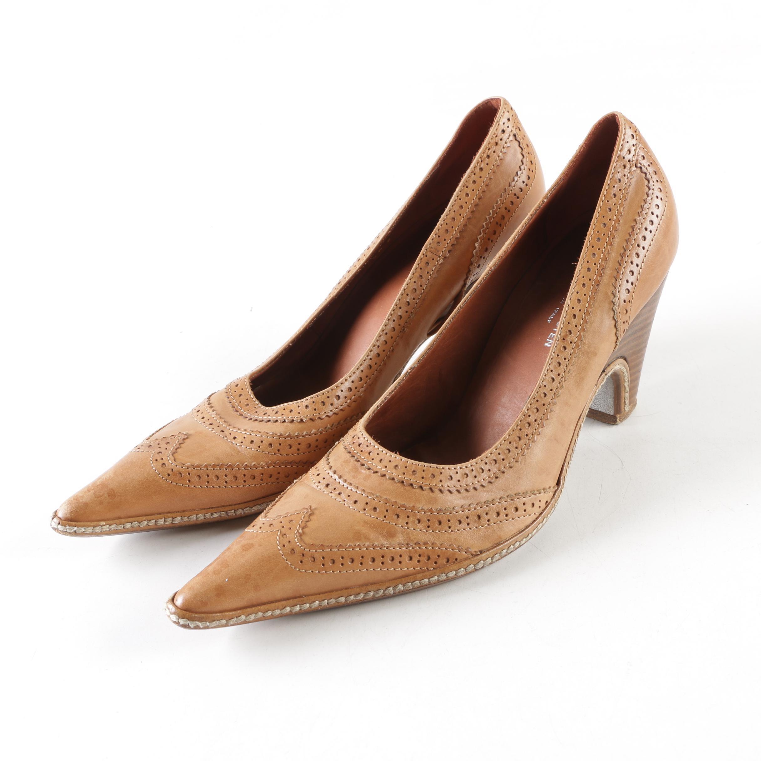 Dries Van Noten Wingtip-Style Leather Heels, Made in Italy