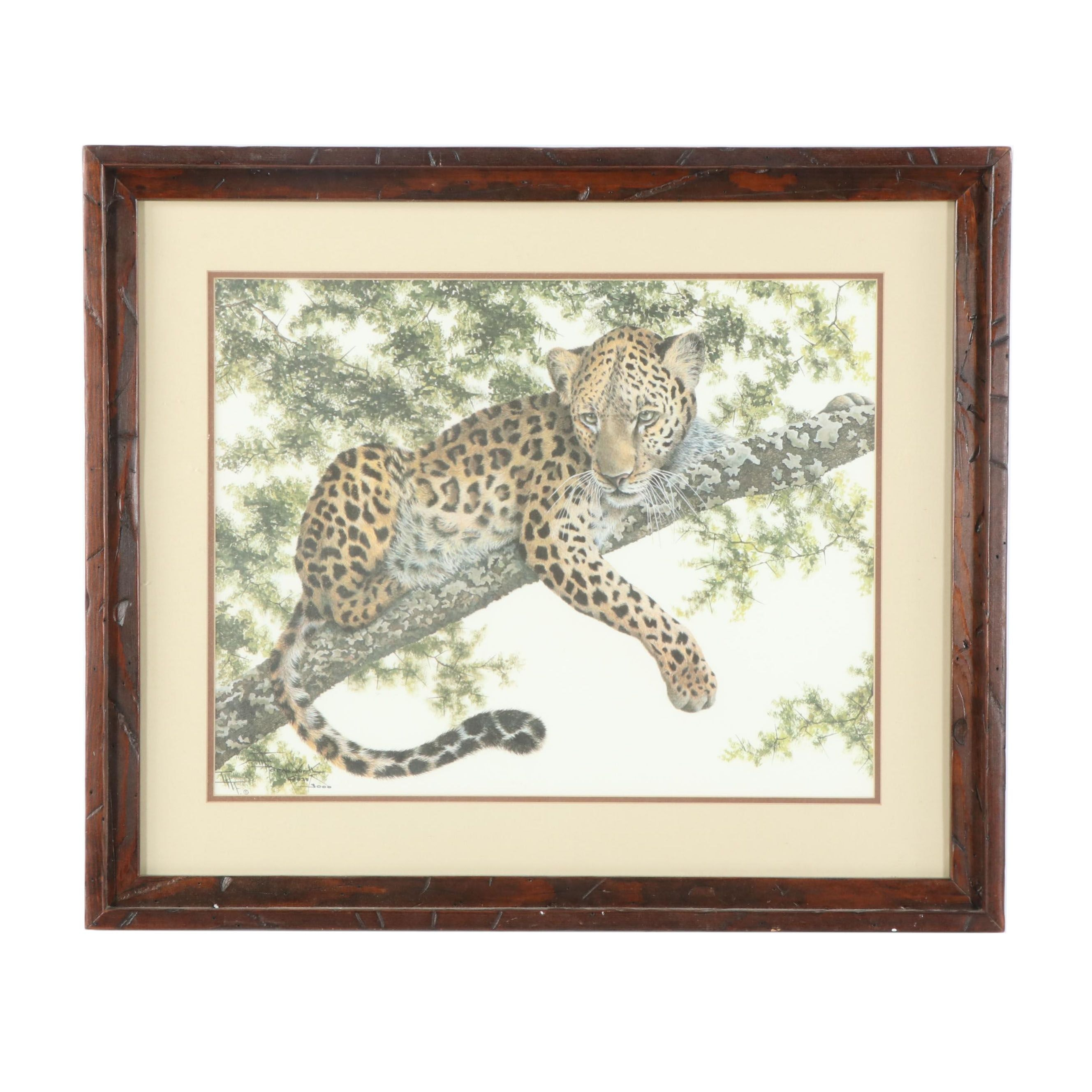 """Imogene H. Farnsworth Limited Edition Offset Lithograph """"African Leopard"""""""
