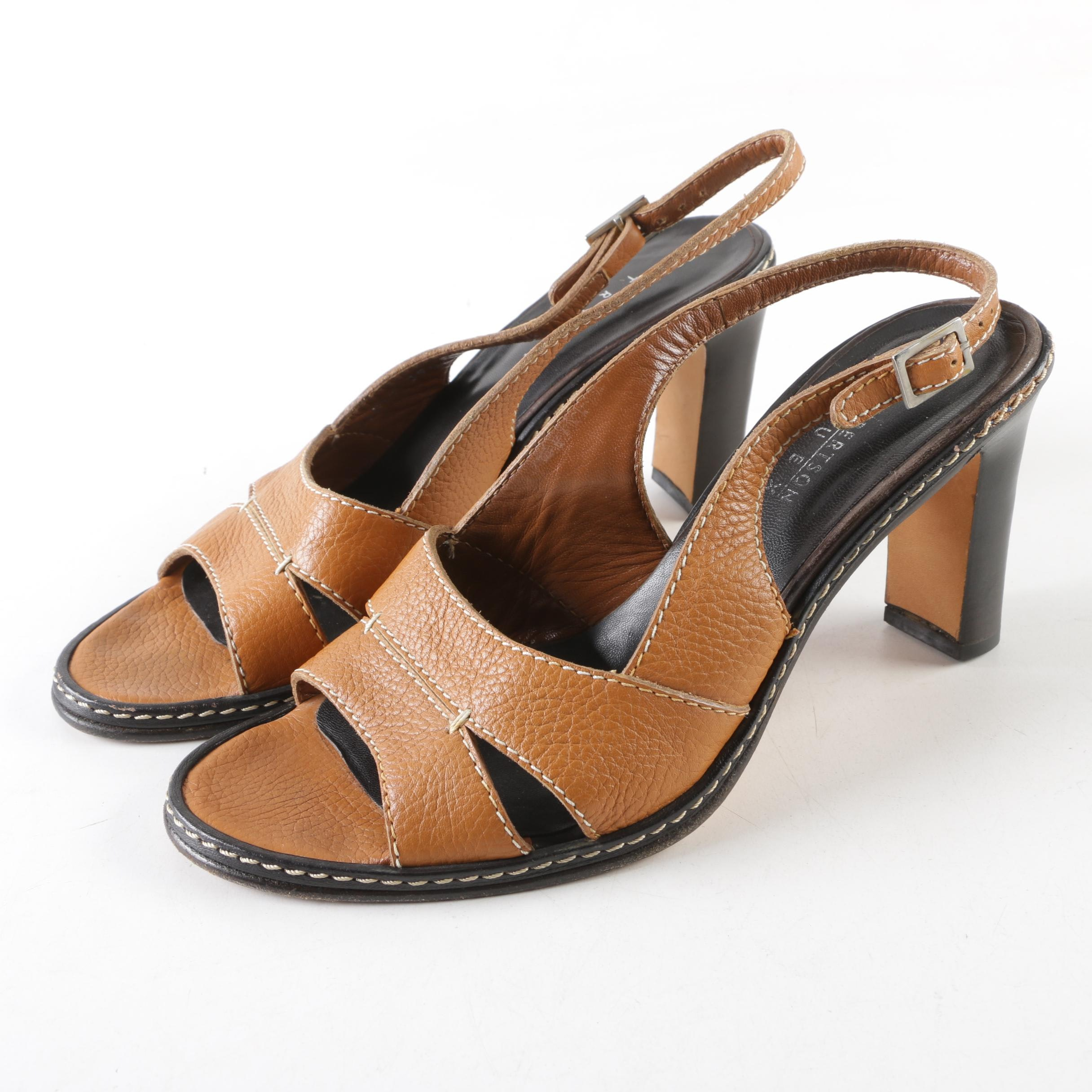 Lambertson Truex Leather Heeled Sandals with Contrast Stitching