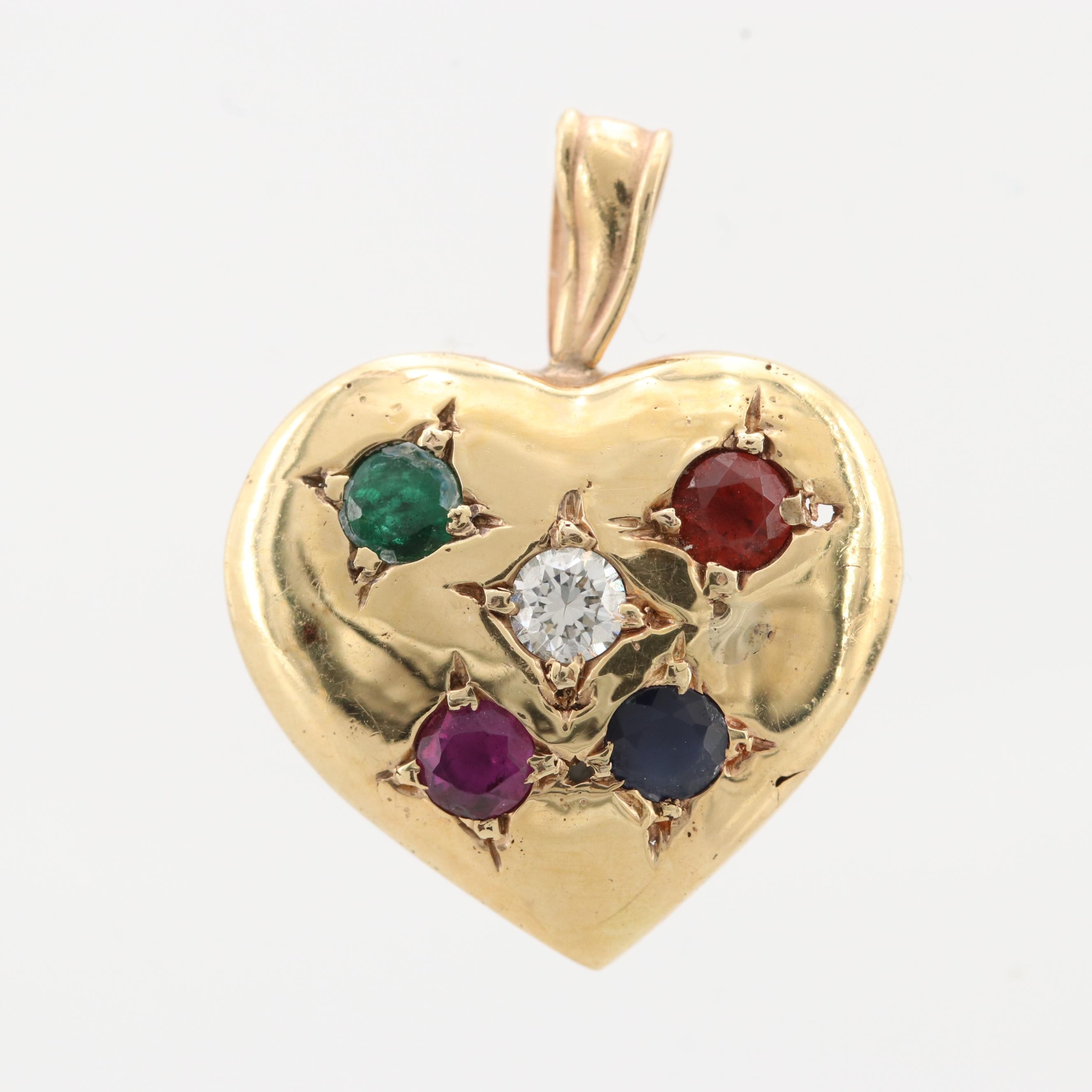 14K Yellow Gold Diamond and Gemstone Heart Pendant