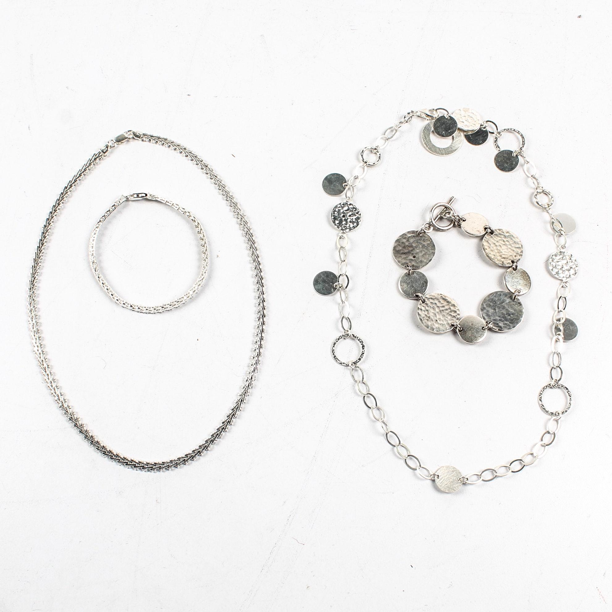 Sterling Silver Coordinating Necklace and Bracelet Sets