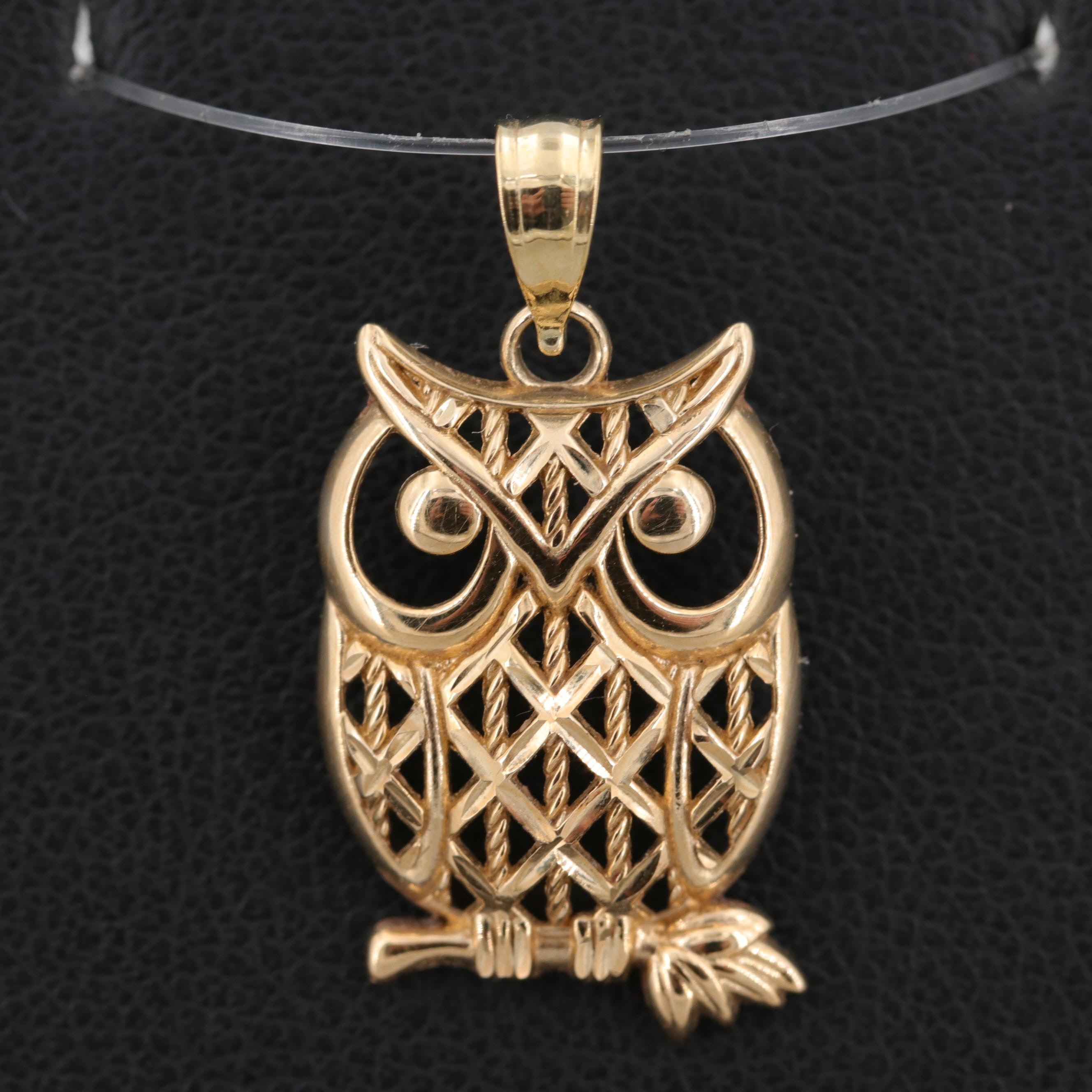 18K Yellow Gold Owl Pendant