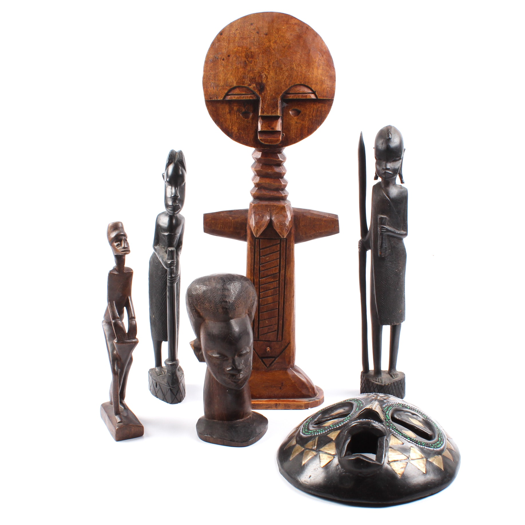 African Carvings with Fertility Doll and Figures
