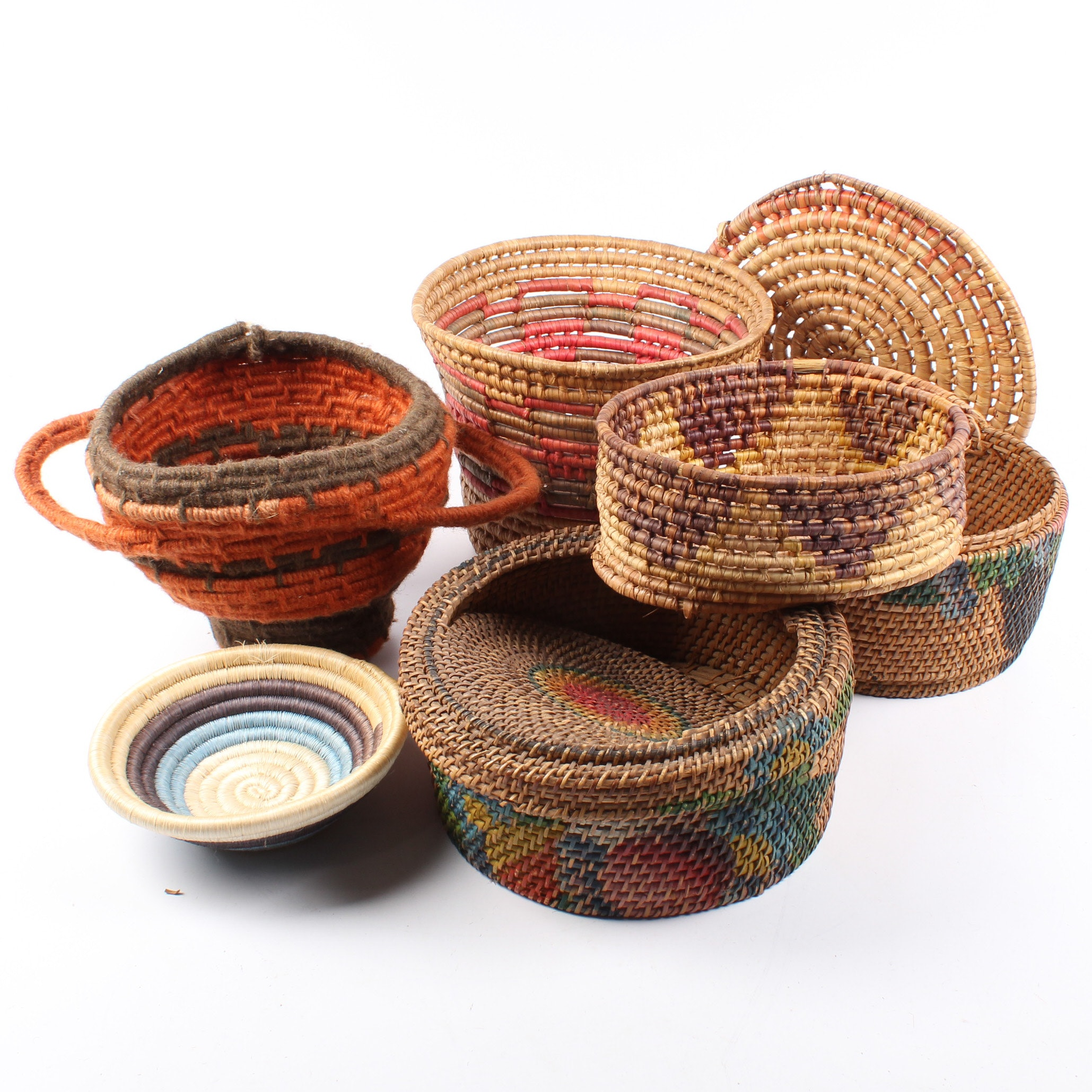 Native American Style Wrapped Basket Work