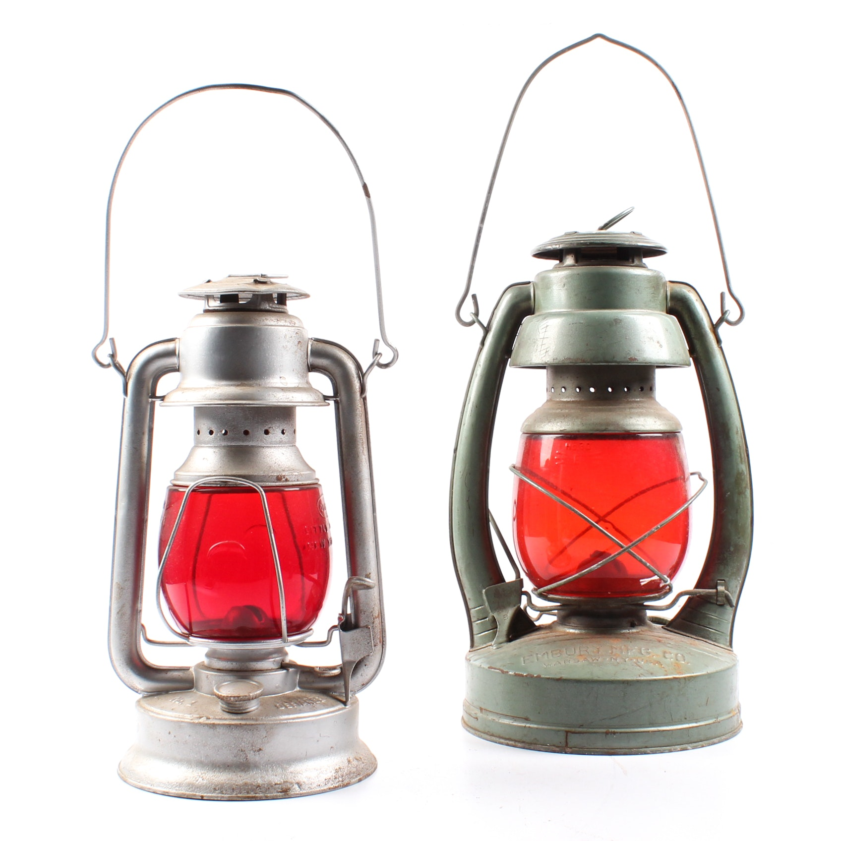 Vintage Kerosene Lanterns with Red Glass Globes