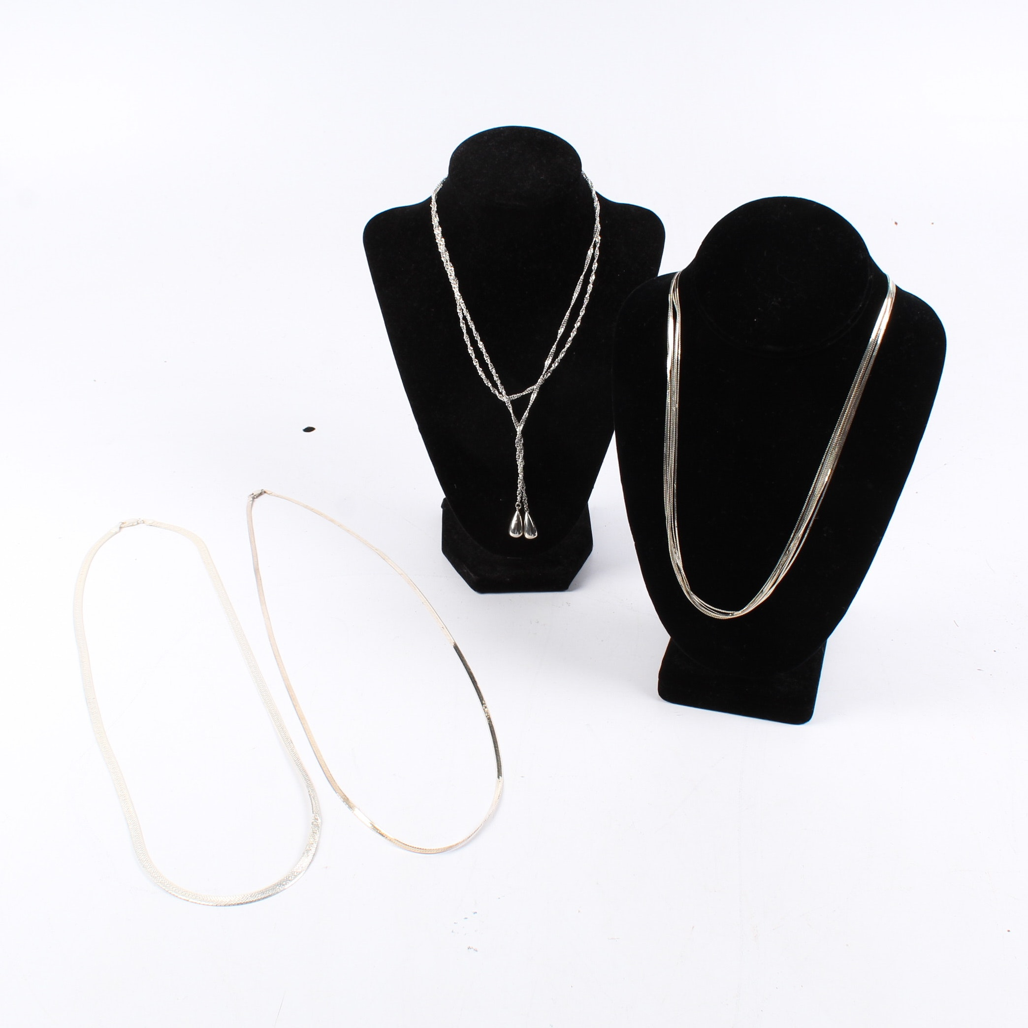Sterling Silver Necklaces Featuring Lariat and Multi-Strand