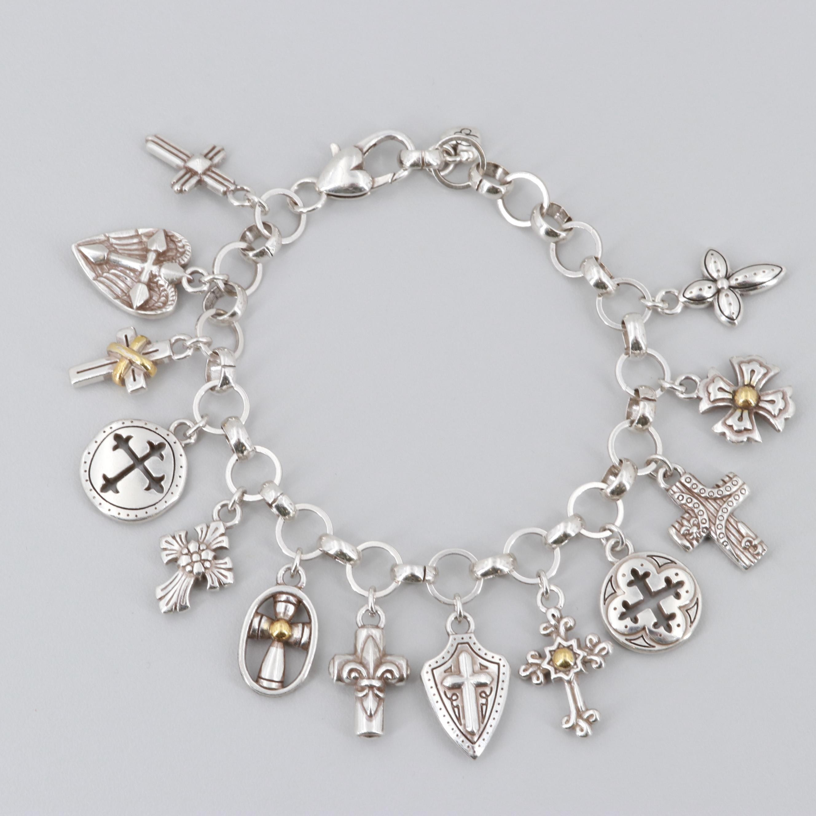 Silver Tone Charm Bracelet with Gold Tone Accents