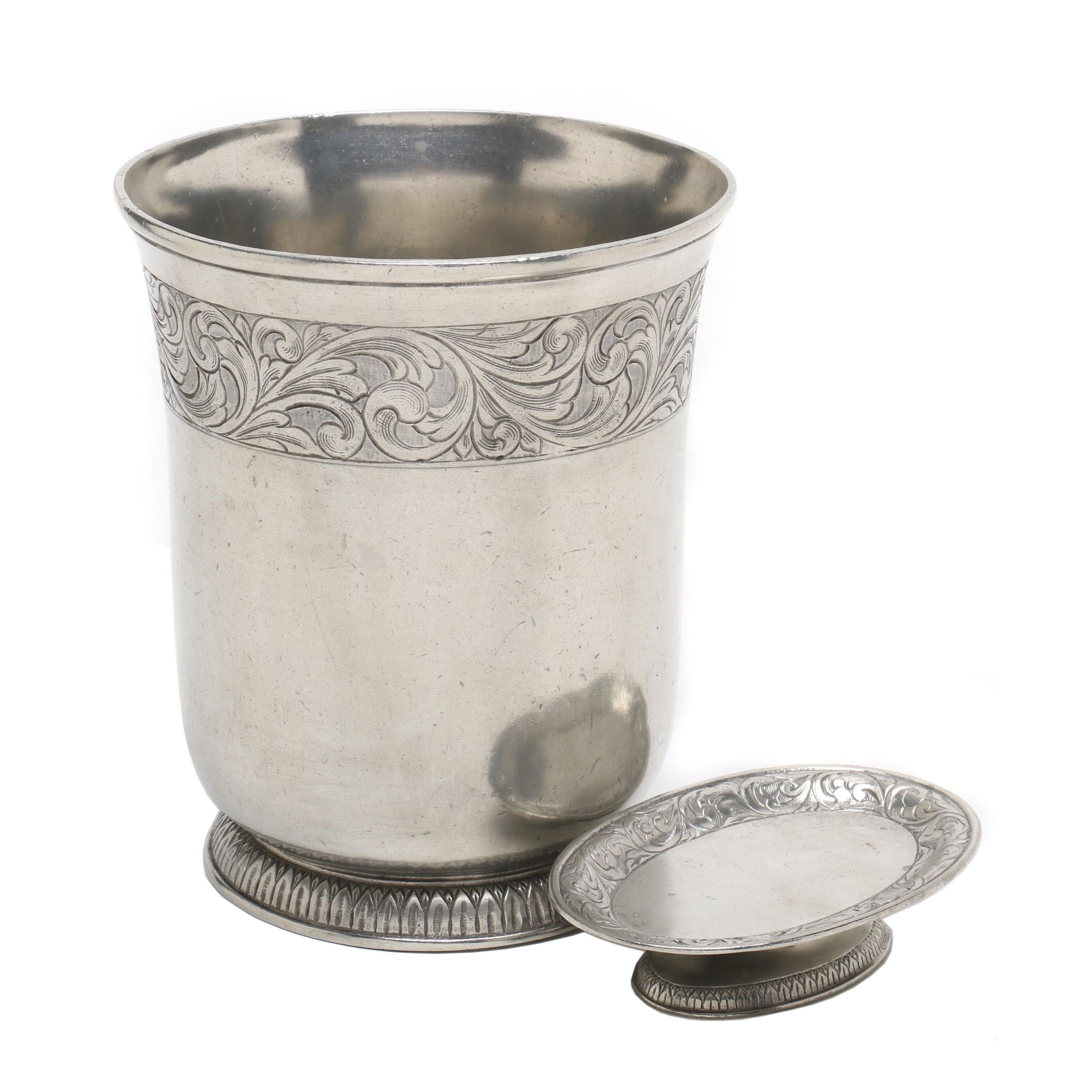 Pewter Waste Basket and Soap Dish by LaBrazel