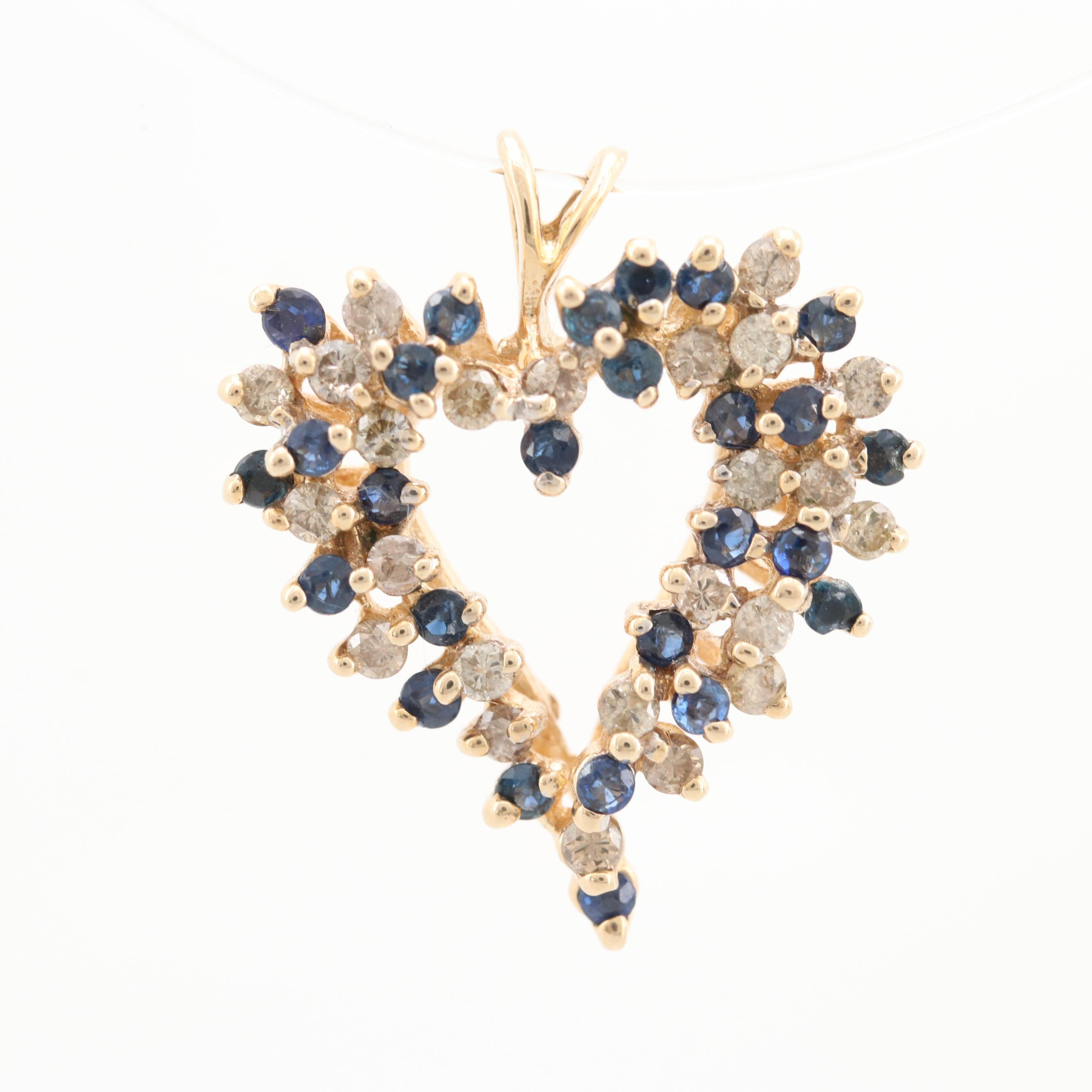 14K Yellow Gold Diamond and SapphireHeart Pendant