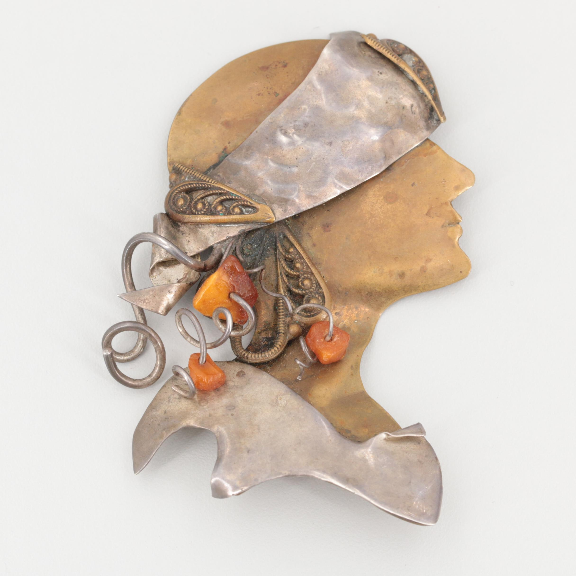 Sterling Silver and Brass Figural Brooch with Glass Bead Accents