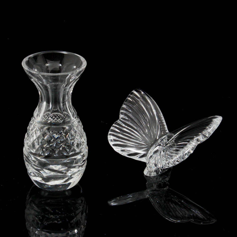 """Waterford Crystal """"Glandore"""" Bud Vase and Butterfly Figurine"""