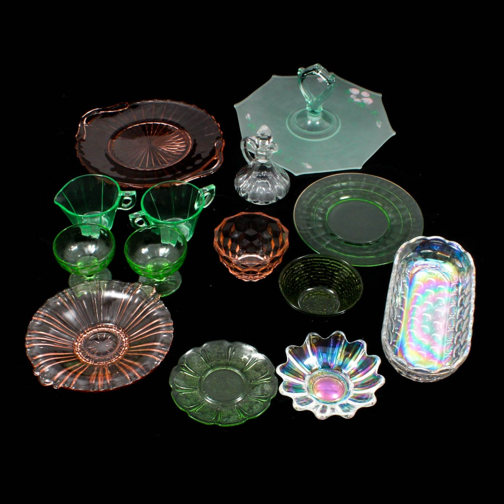 Vaseline, Iridescent and Depression Glass Tableware