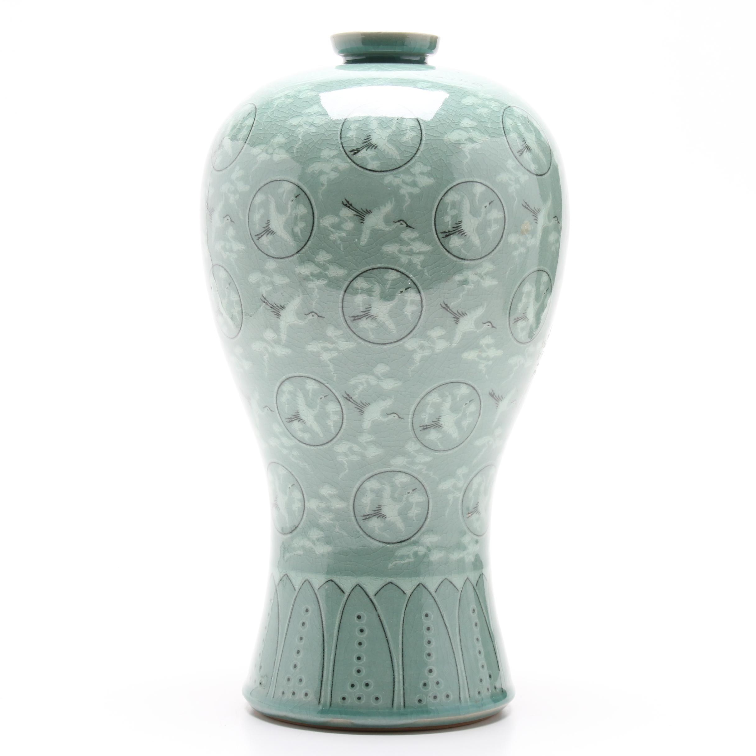 Korean Celadon Cranes Motif Plum Vase