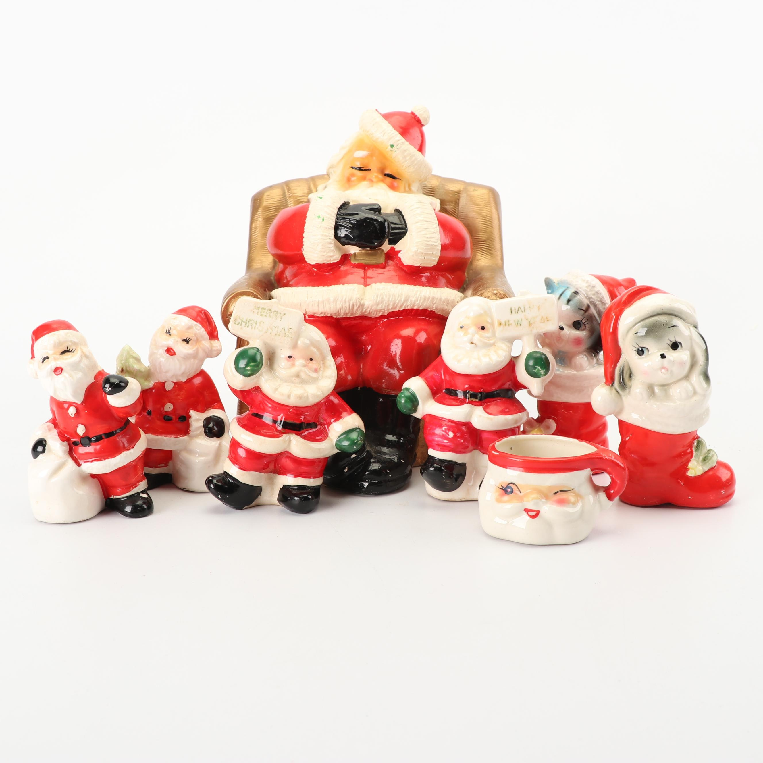 Christmas Themed Ceramic Coin Bank, Salt and Pepper Shakers, and Cup