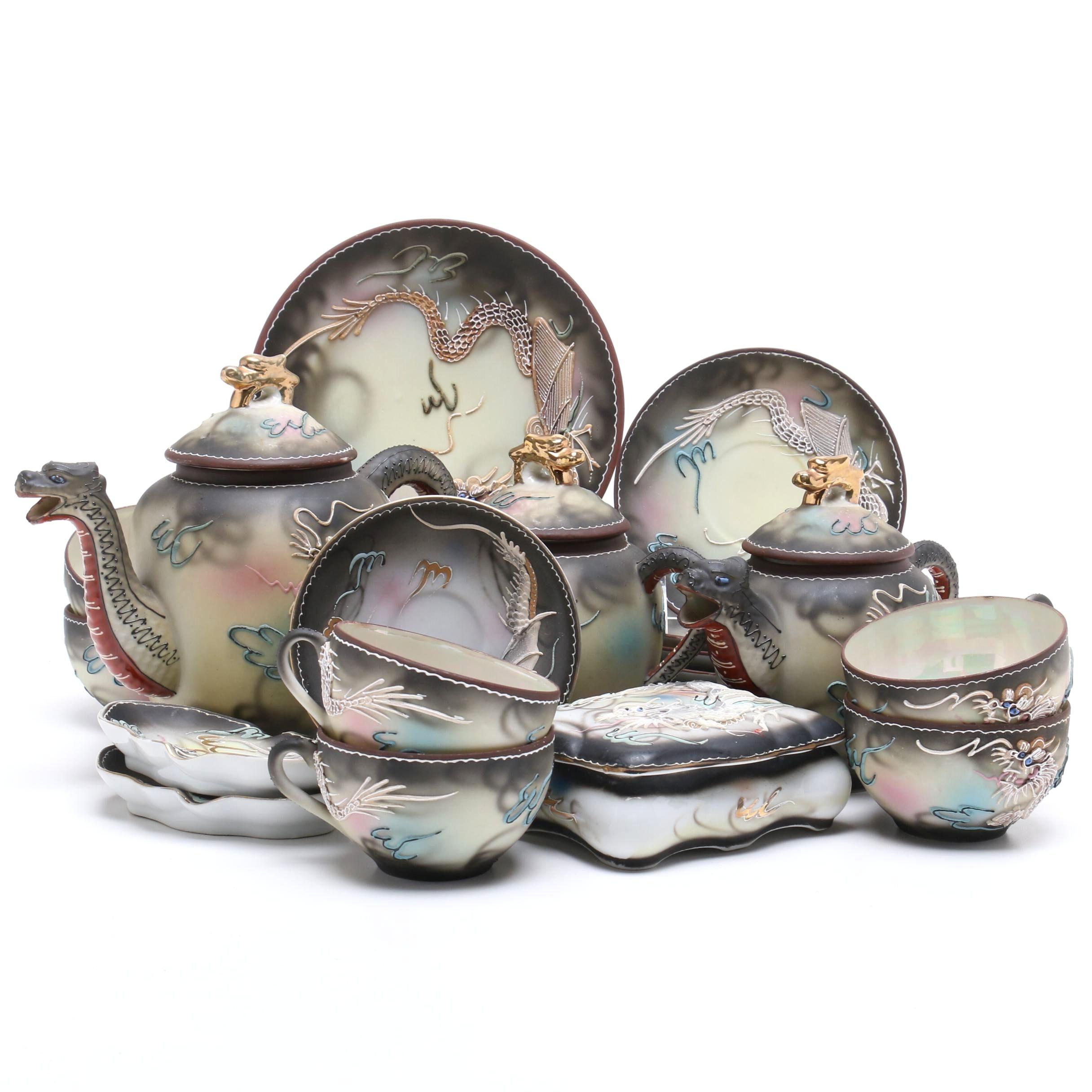 Hand Painted Japanese Moriage Dragonware Tea Set by Takito
