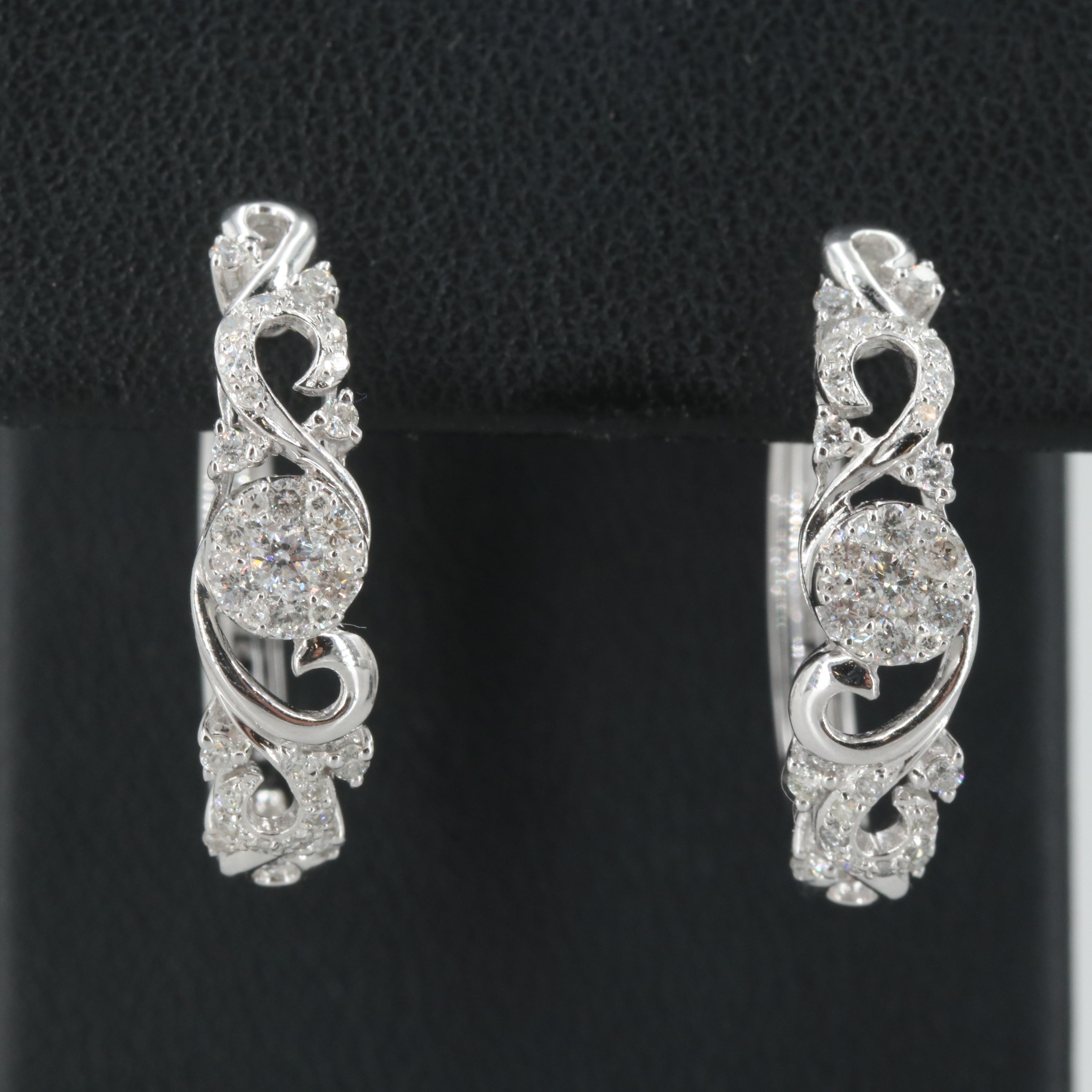 EFFY 14K White Gold Diamond Hoop Earrings