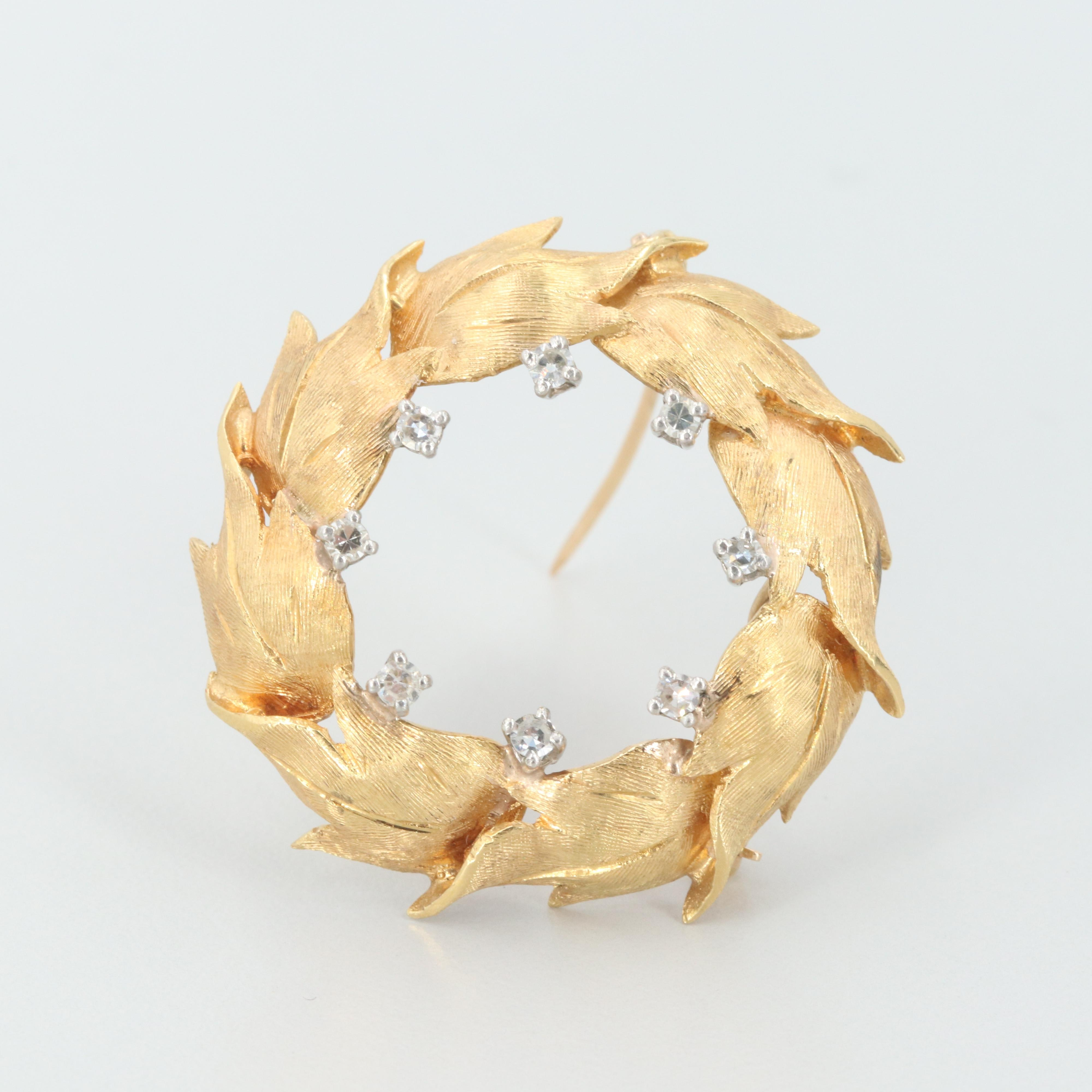 18K and 14K Yellow Gold Diamond Leaf Converter Brooch