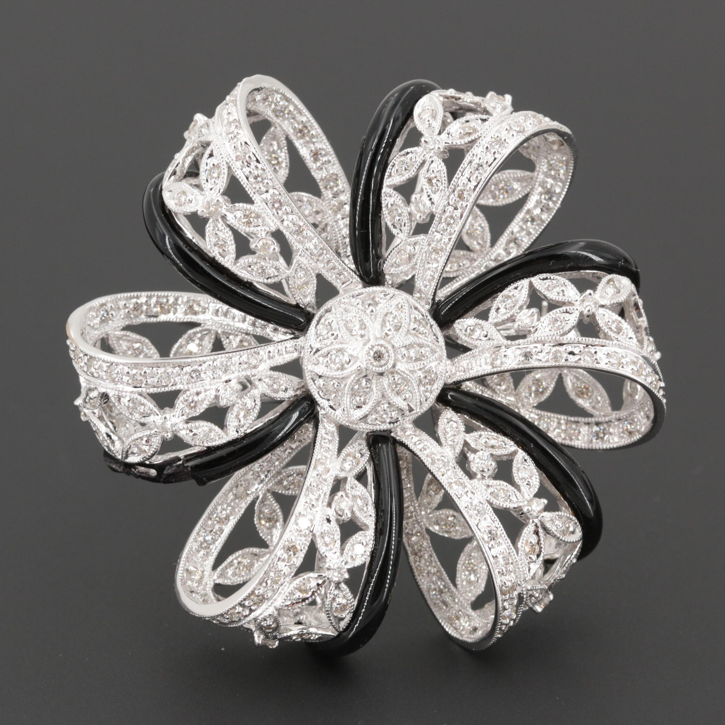 18K White Gold 2.03 CTW Diamond and Glass Brooch