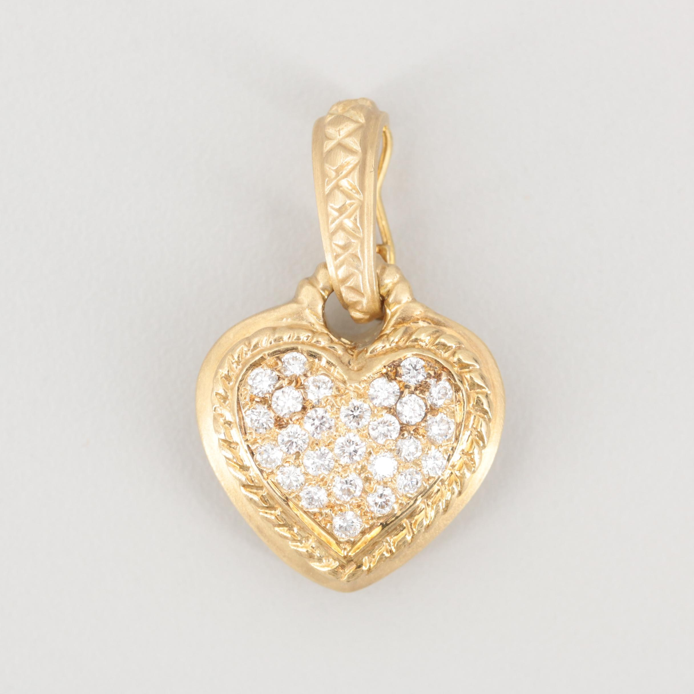 14K Yellow Gold Diamond Heart Enhancer Pendant