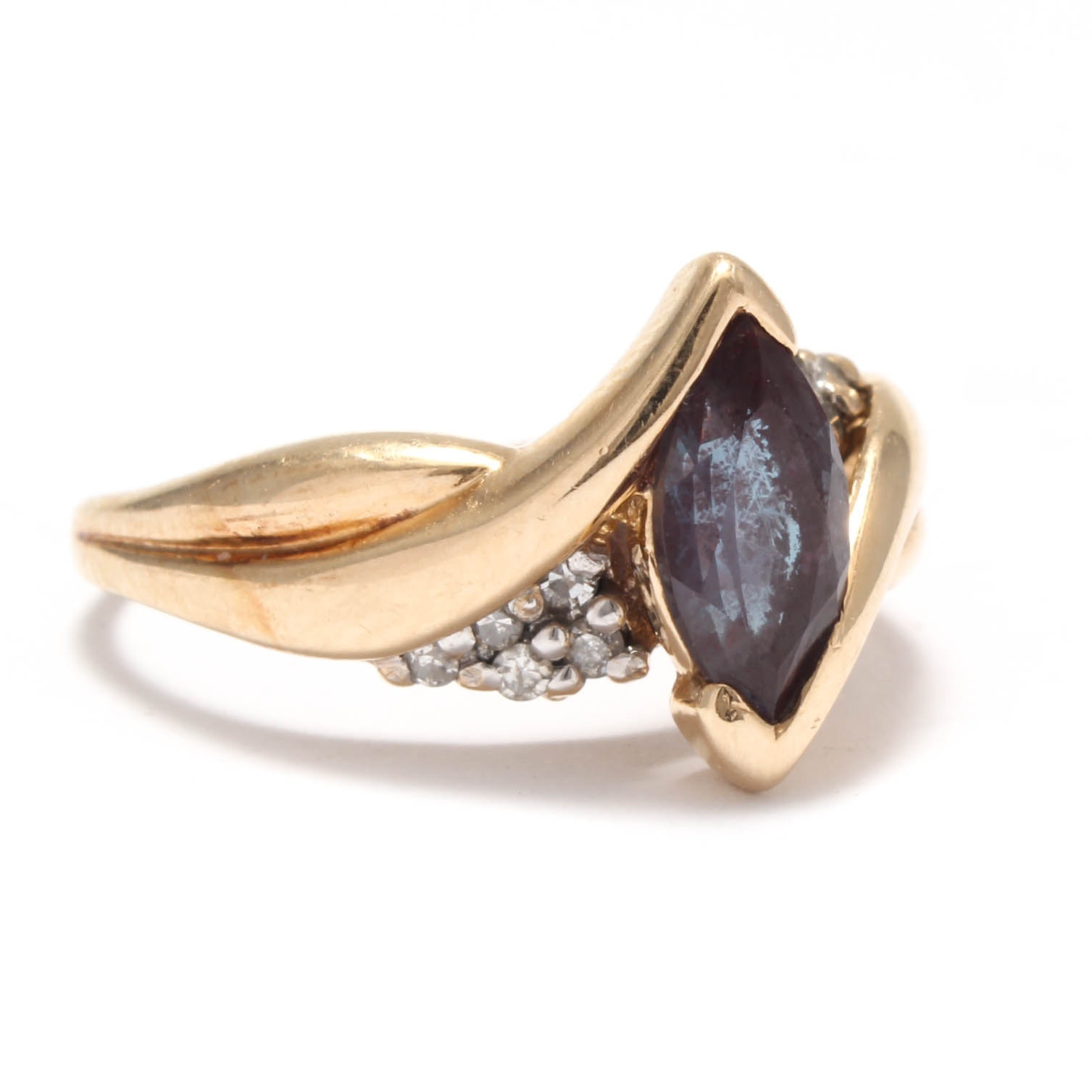 14K Yellow Gold Synthetic Alexandrite and Diamond Ring