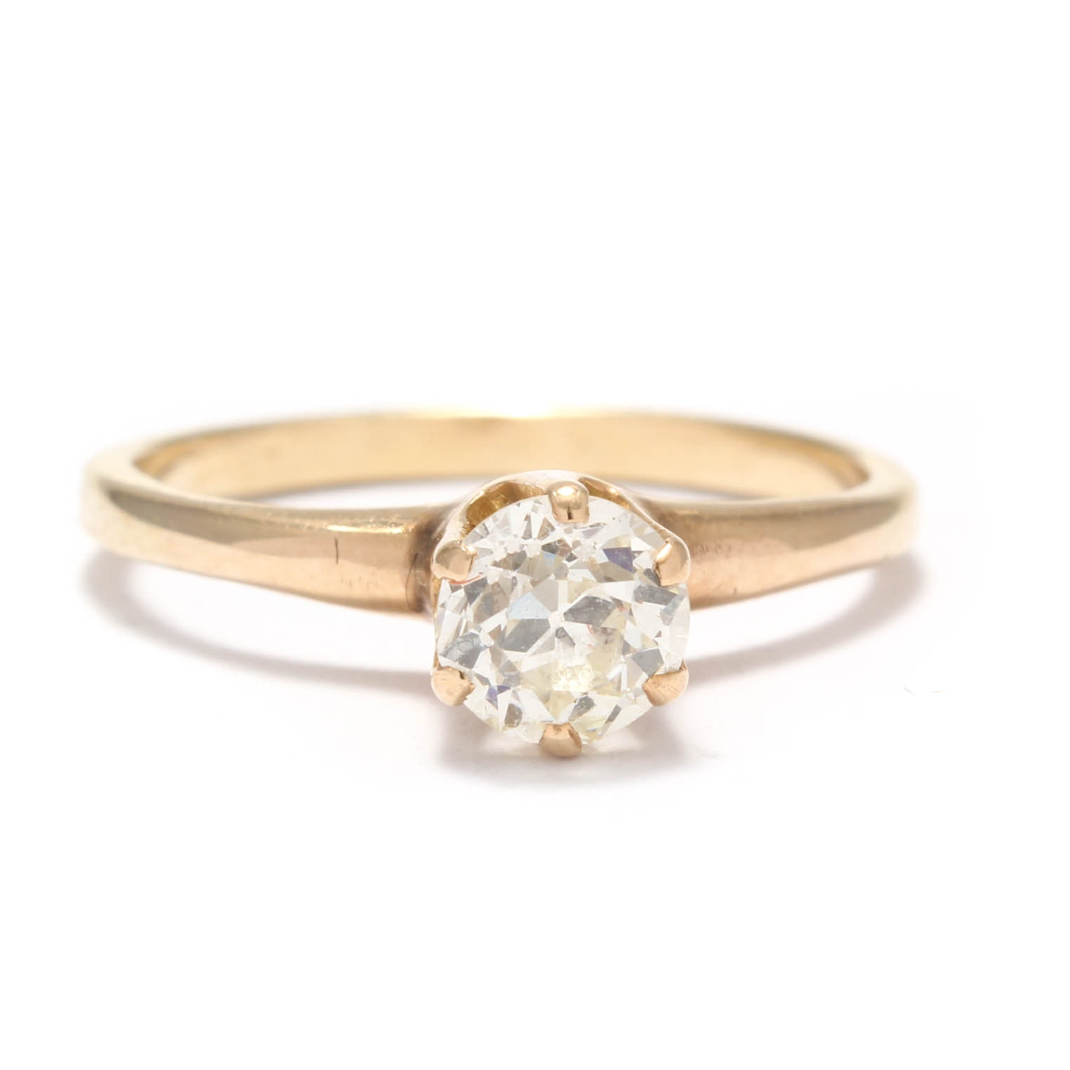 14K Yellow Gold Old European Cut Diamond Solitaire Engagement Ring
