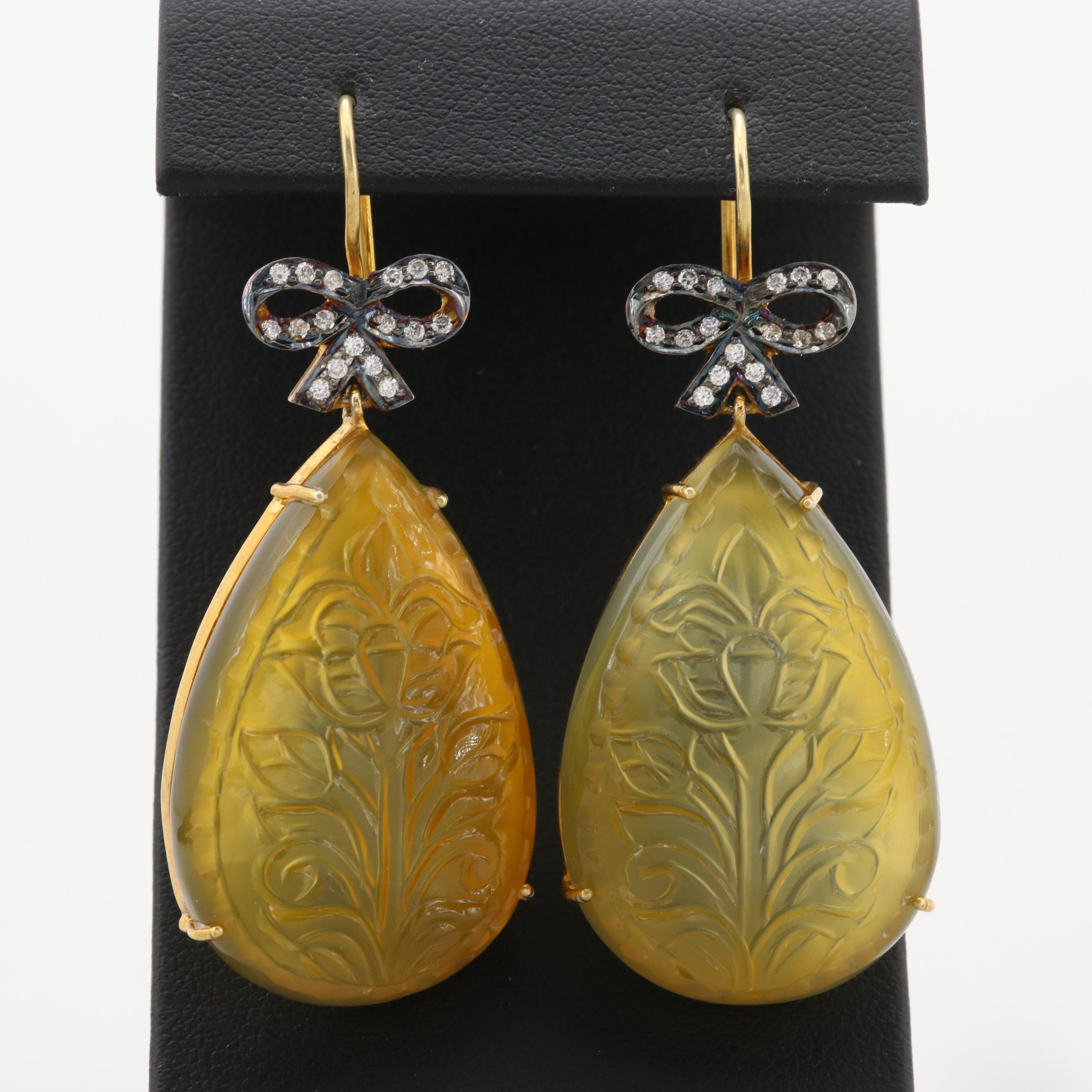 Gold Wash on Sterling Silver Glass and Cubic Zirconia Earrings