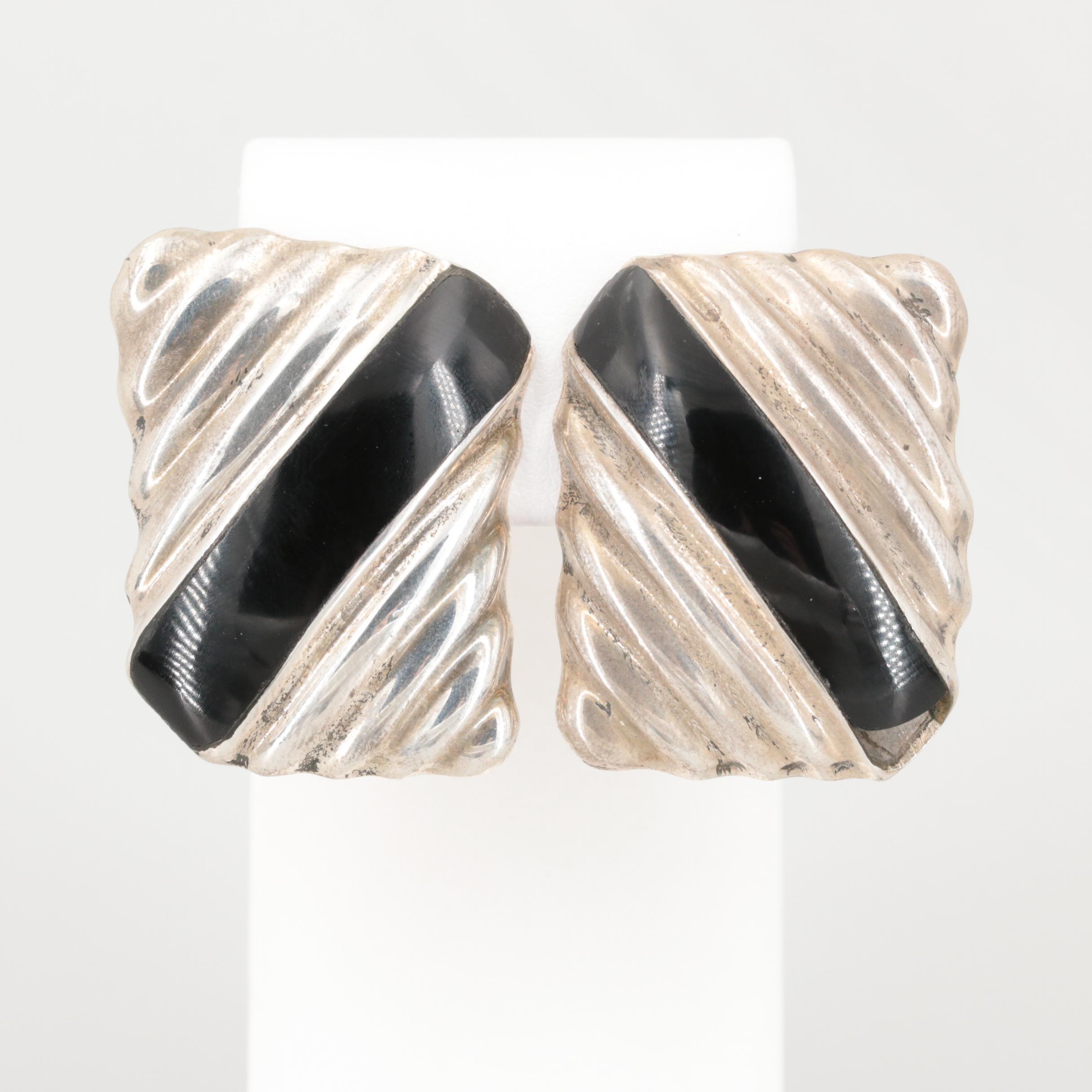 Mexican Sterling Silver Black Onyx Earrings