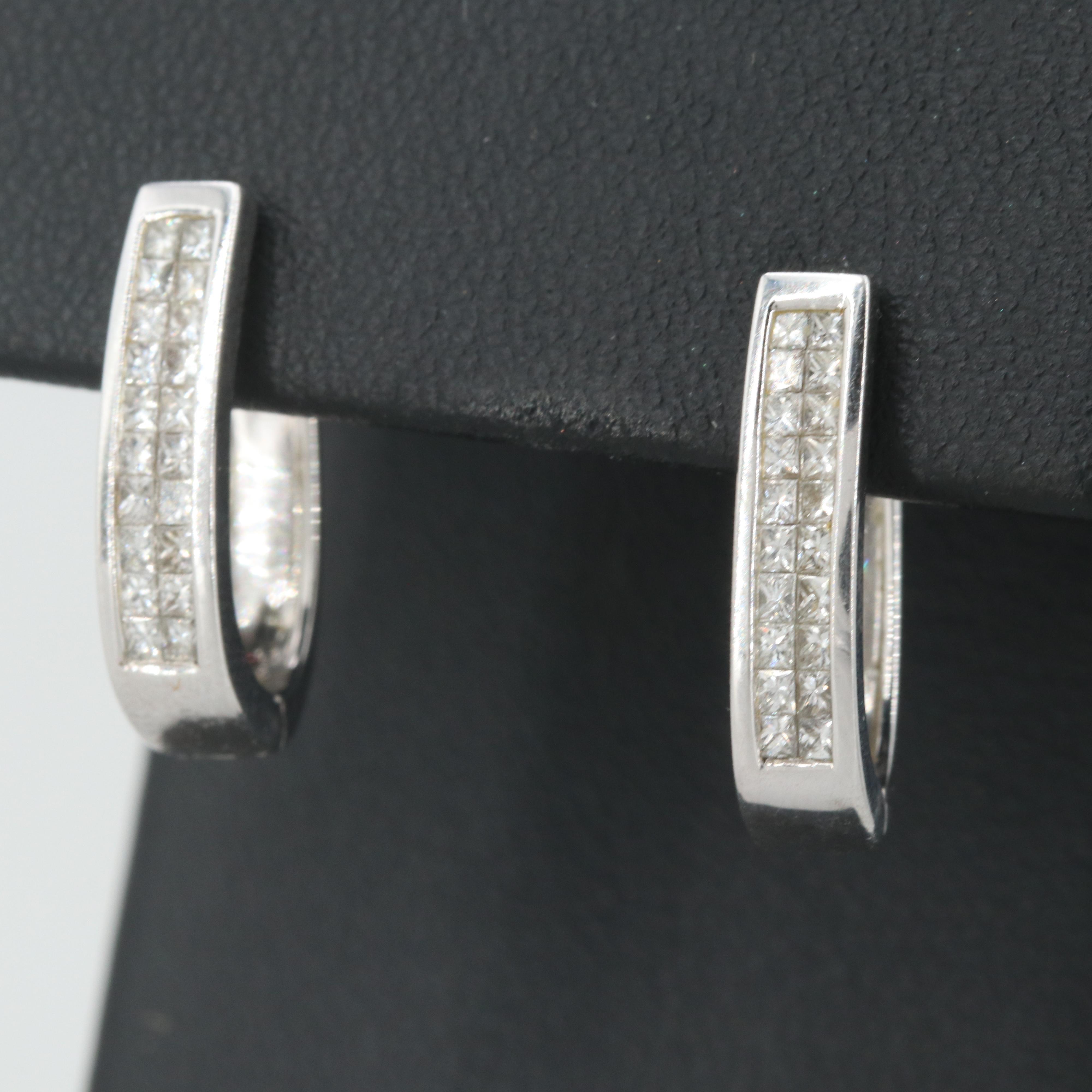14K White Gold 1.00 CTW Diamond Huggie Earrings