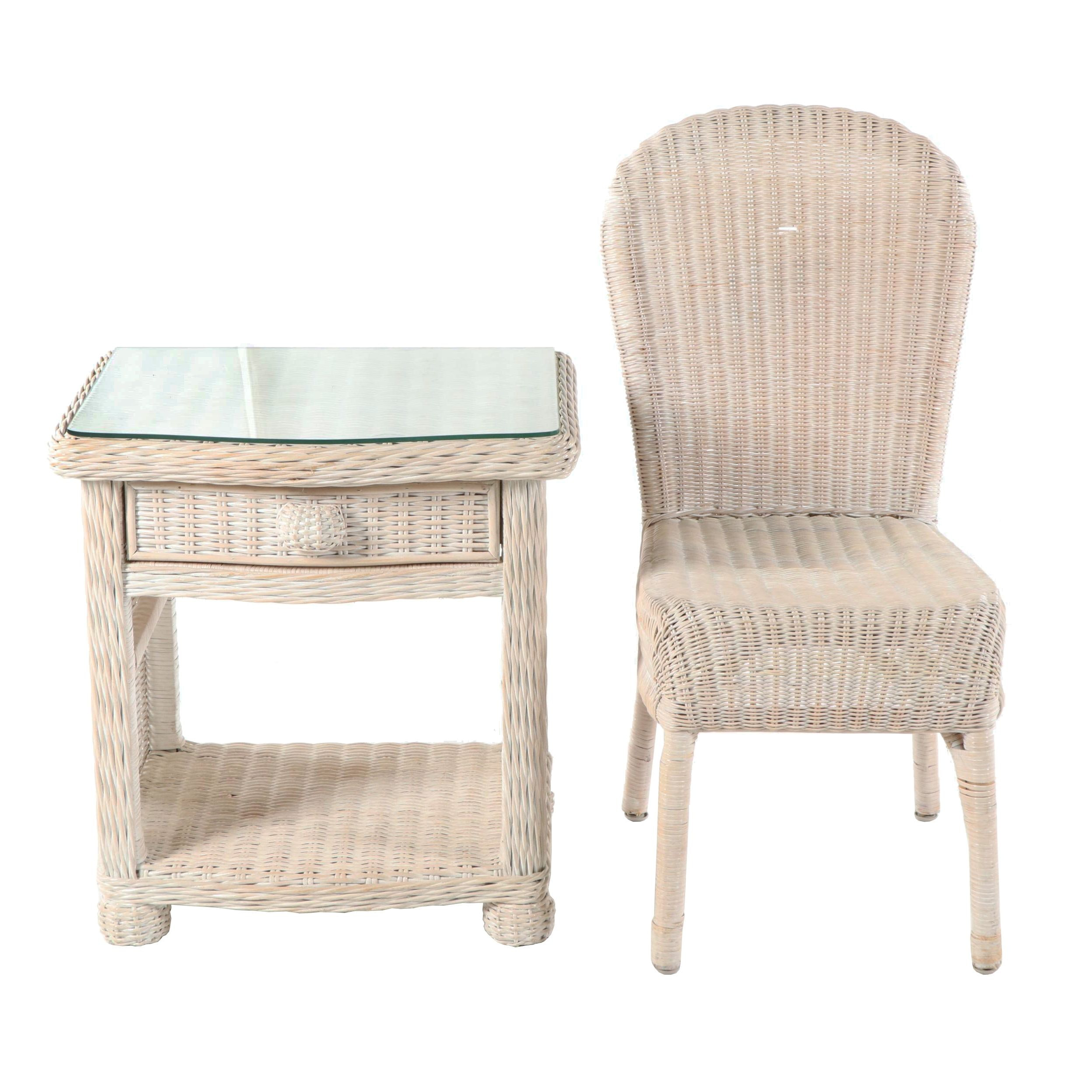 Wicker Nightstand and Side Chair, Late 20th Century