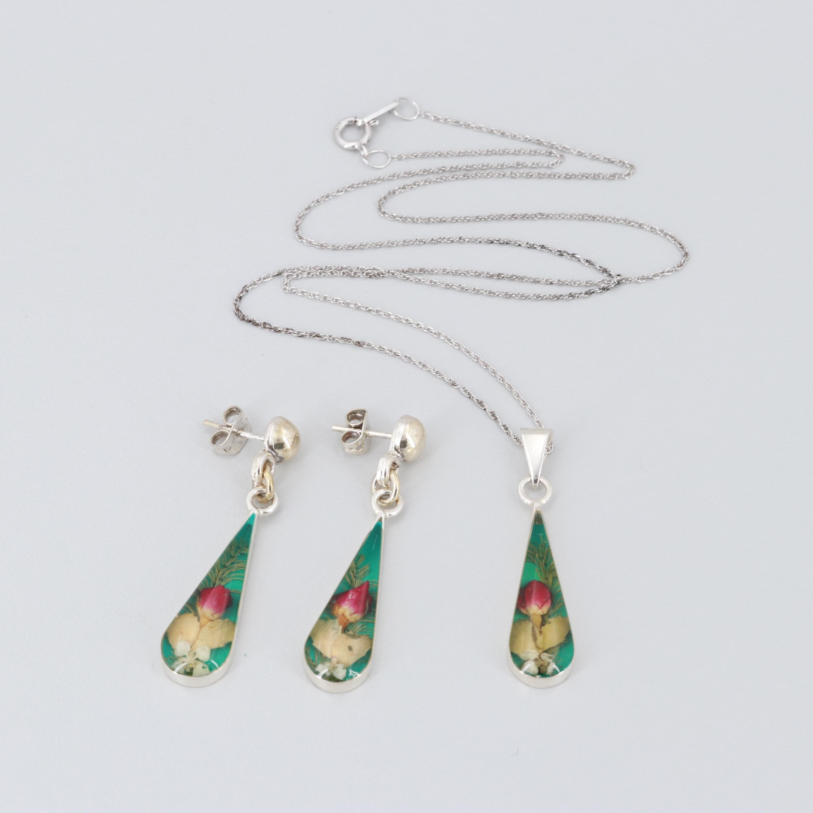 Mexican Sterling Silver Resin Earrings and Necklace with Pendant