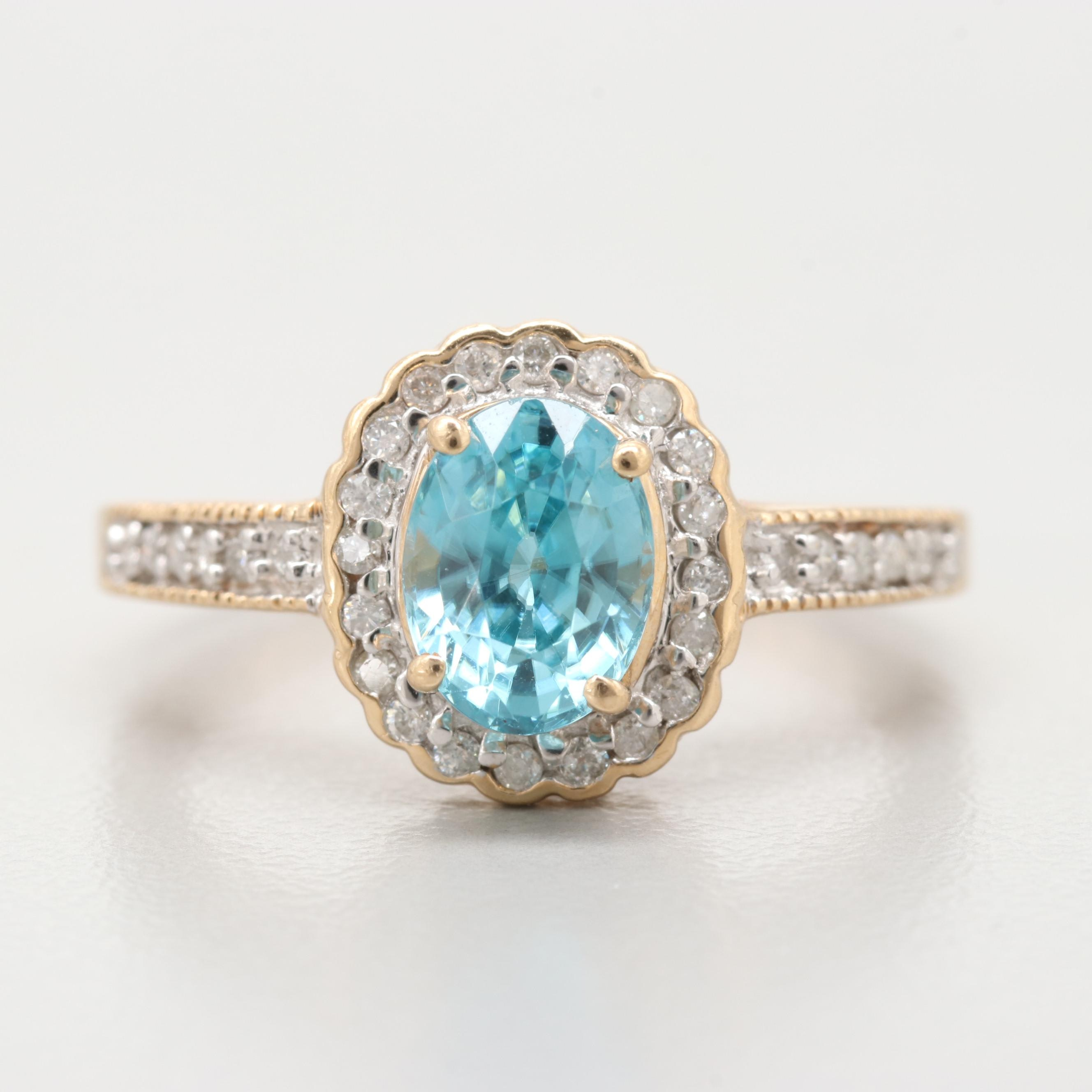 14K Yellow Gold Blue Zircon And Diamond Ring
