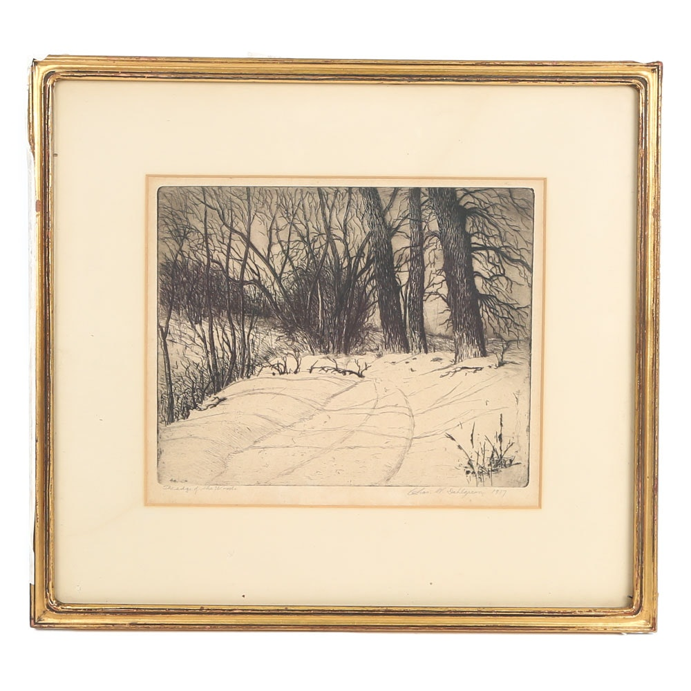 """Charles W. Dahlgreen Etching """"The Edge of the Woods"""""""