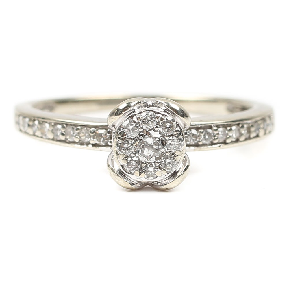 10K White Gold and Diamond Cluster Ring