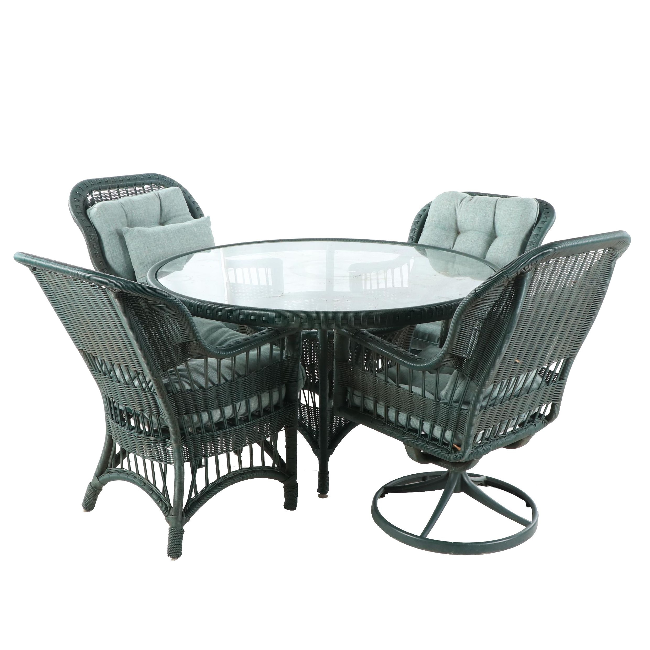 Woven Plastic and Metal Patio Dining Table and Armchairs Set, 21st Century