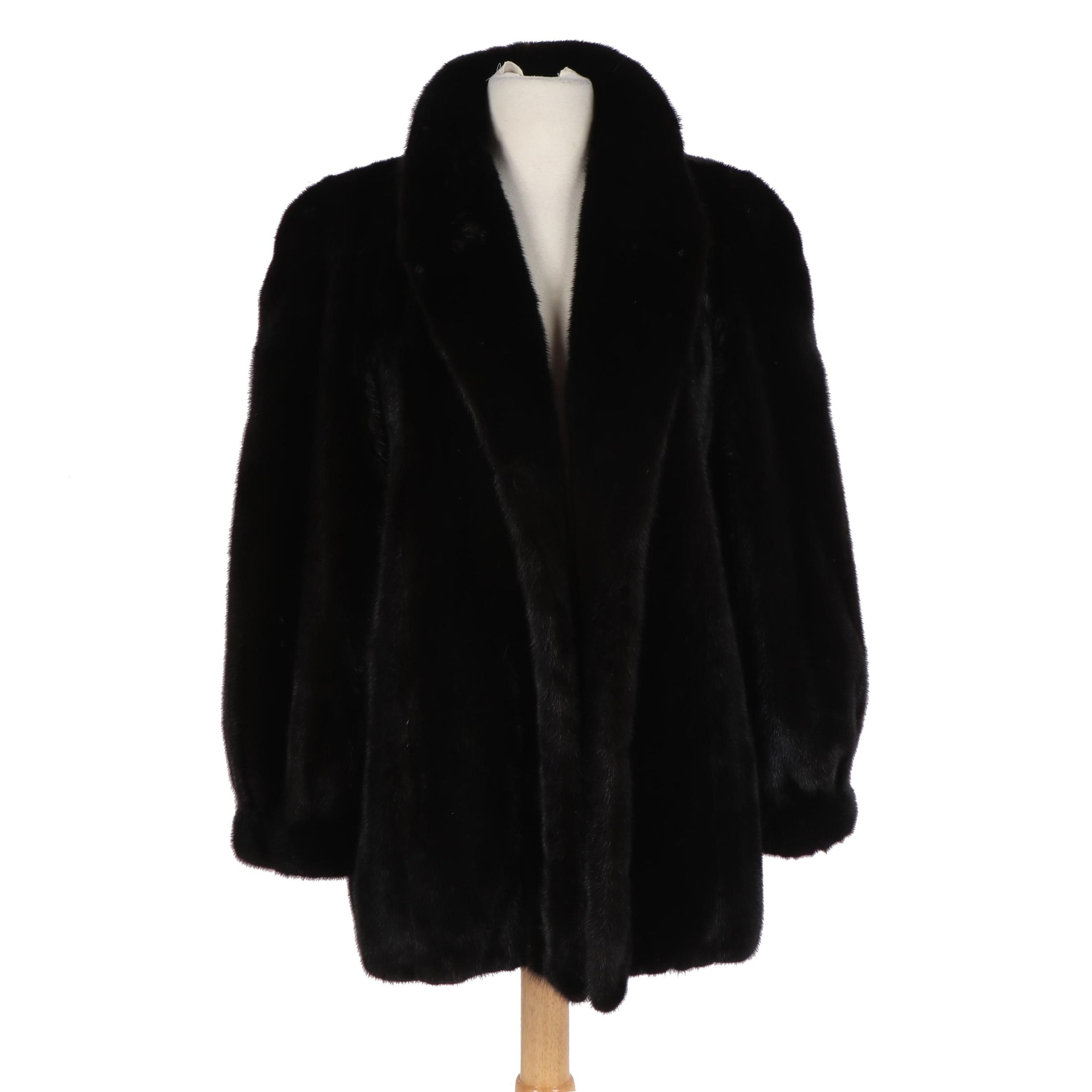 Women's David Hunt of Fort Worth Black Ranch Mink Fur Coat