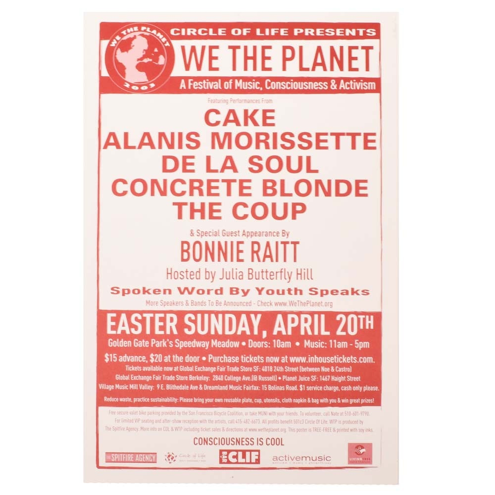 "2003 ""We the Planet"" Concert Poster Featuring Cake, Alanis Morissette, More"